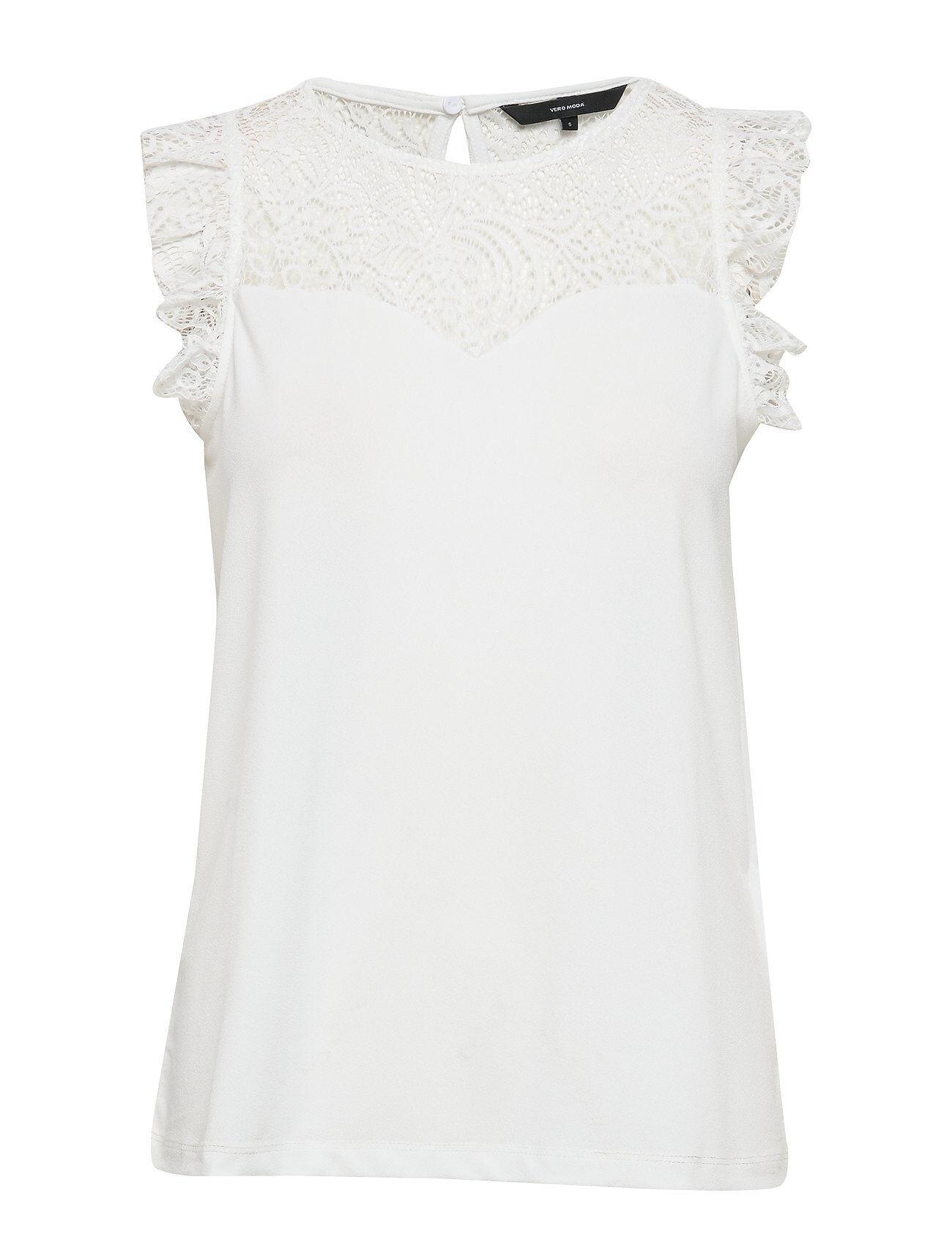 Vero Moda Vmalberta Sweetheart Lace S/L Top Noos T-shirts & Tops Sleeveless Valkoinen Vero Moda
