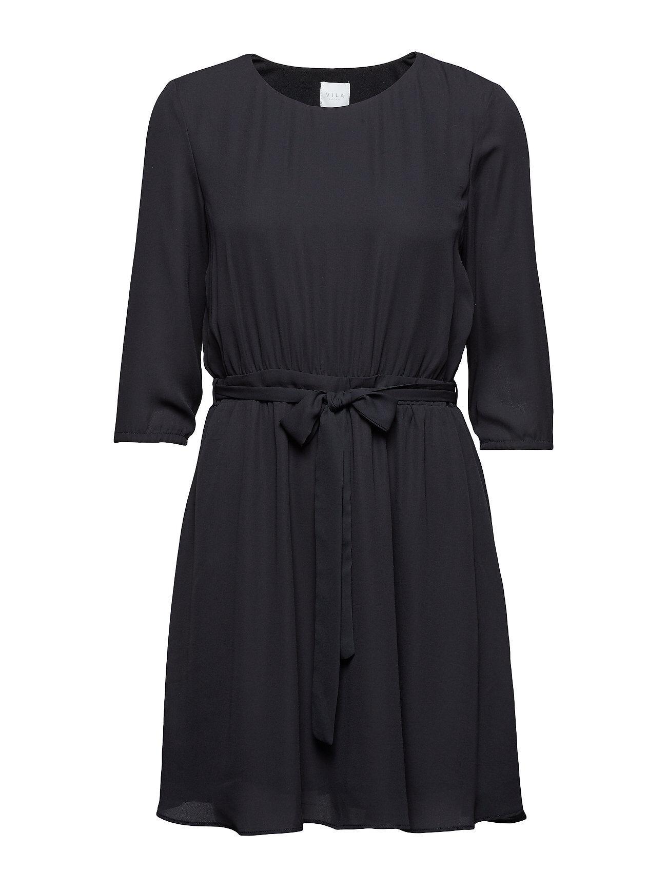 Image of VILA Vilucy 3/4 Sleeve Dress Lyhyt Mekko Musta VILA