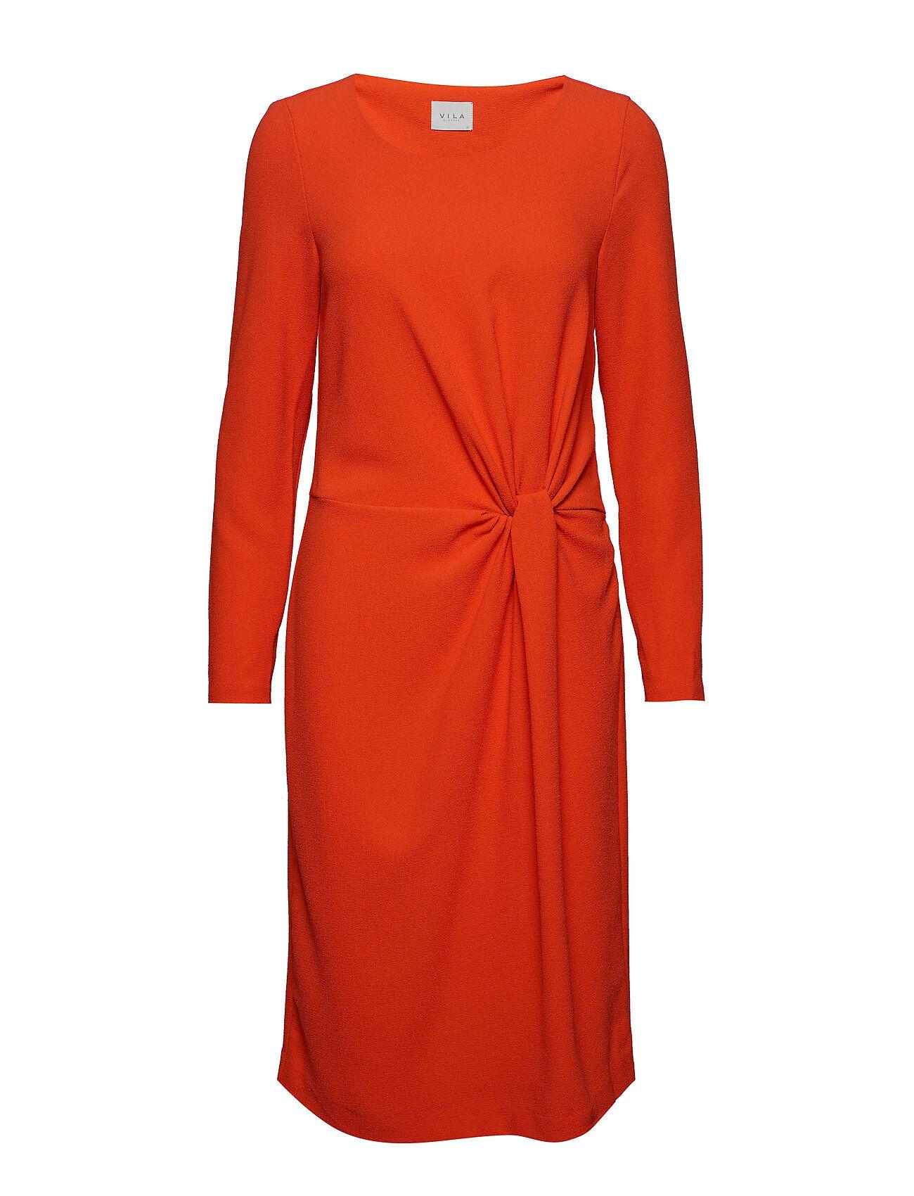 Image of VILA Visealo L/S Knot Dress Polvipituinen Mekko Oranssi VILA