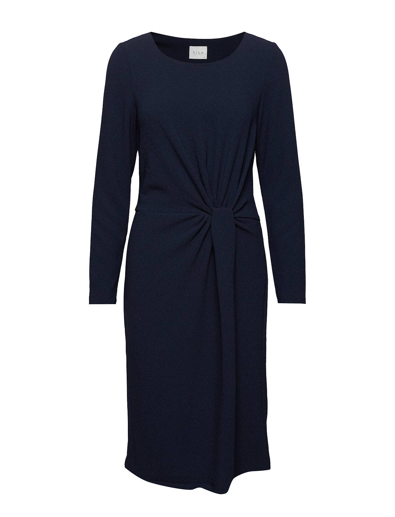 Image of VILA Visealo L/S Knot Dress Polvipituinen Mekko Sininen VILA