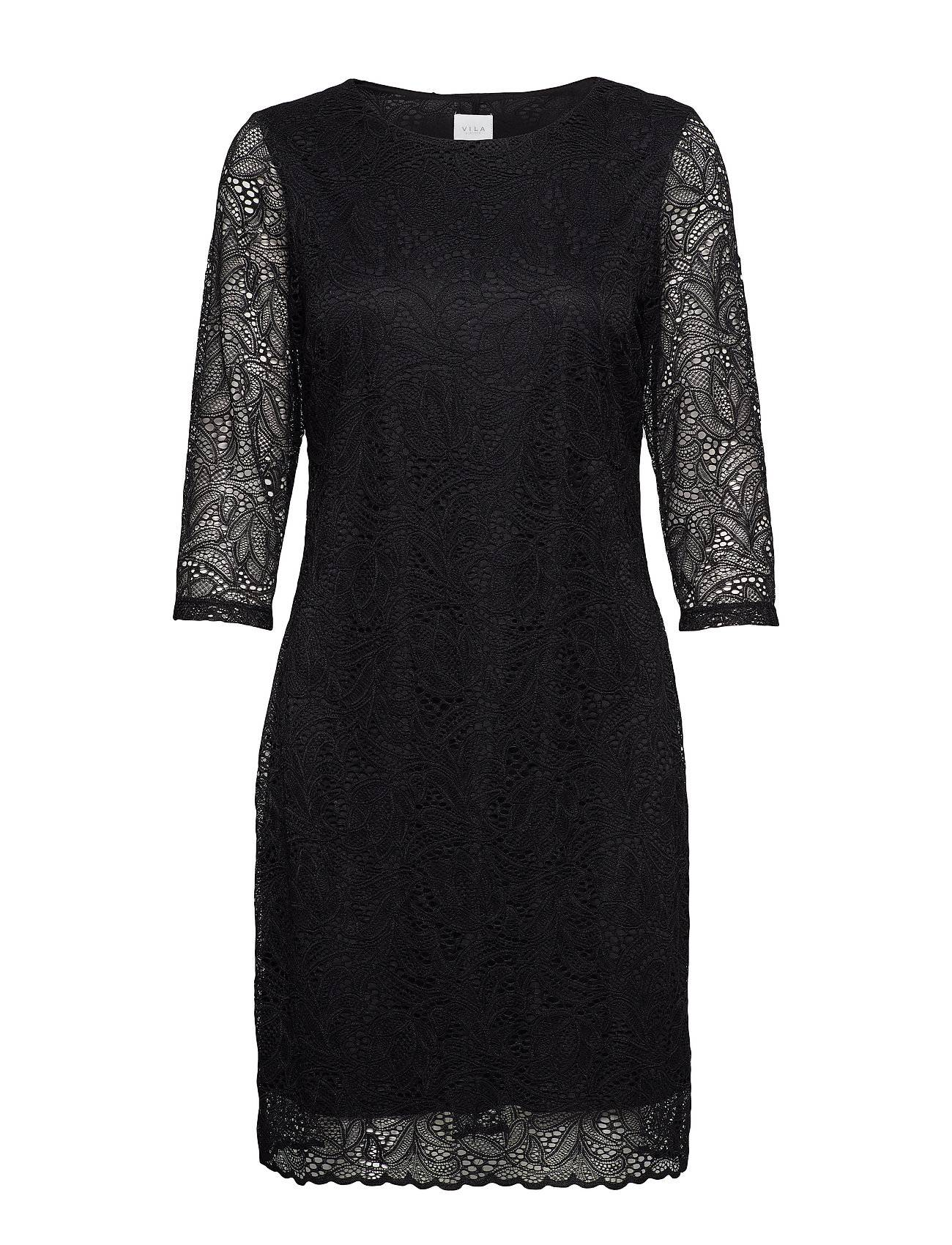 Image of VILA Viblond 3/4 Sleeve Dress - Noos Polvipituinen Mekko Musta VILA