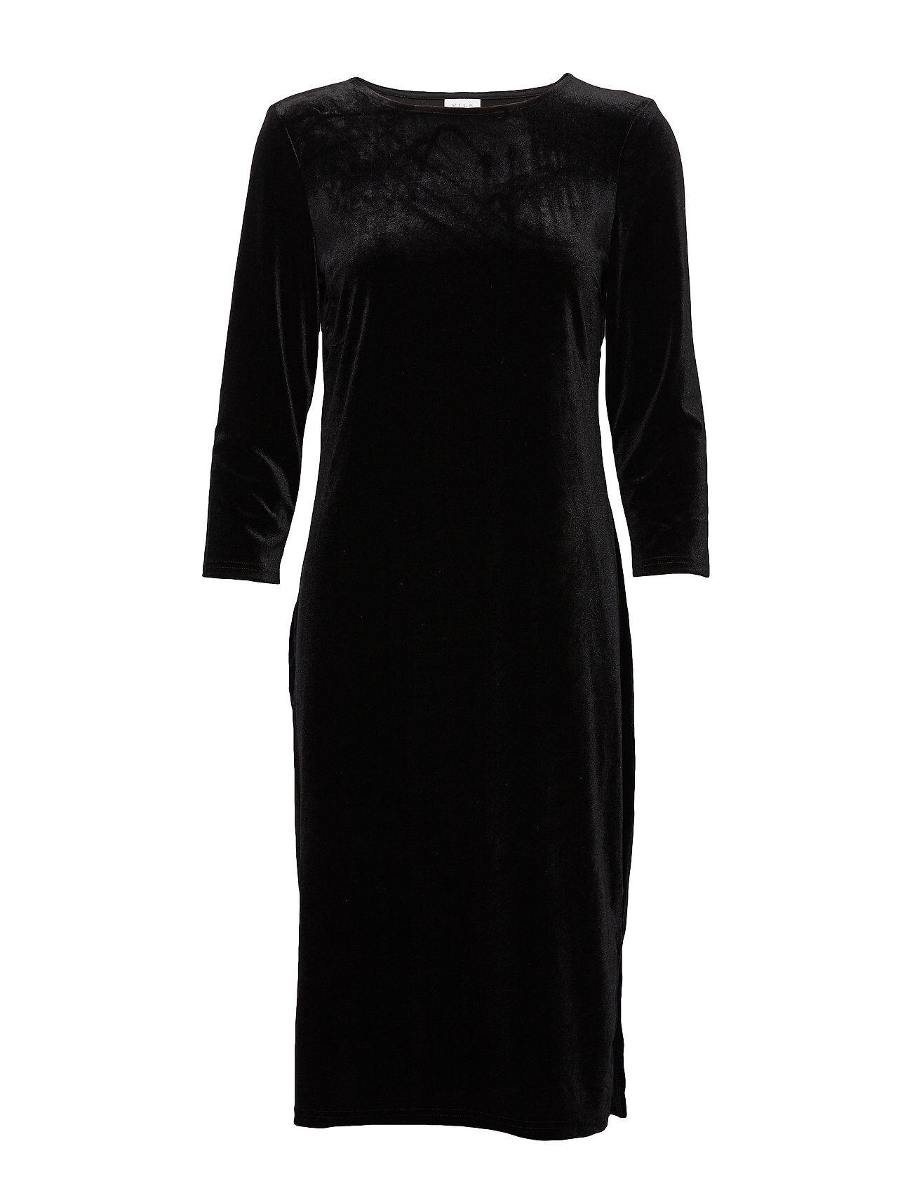 Vila Viminny Velvet New 3/4 Sleeve Dress/L Polvipituinen Mekko Musta Vila