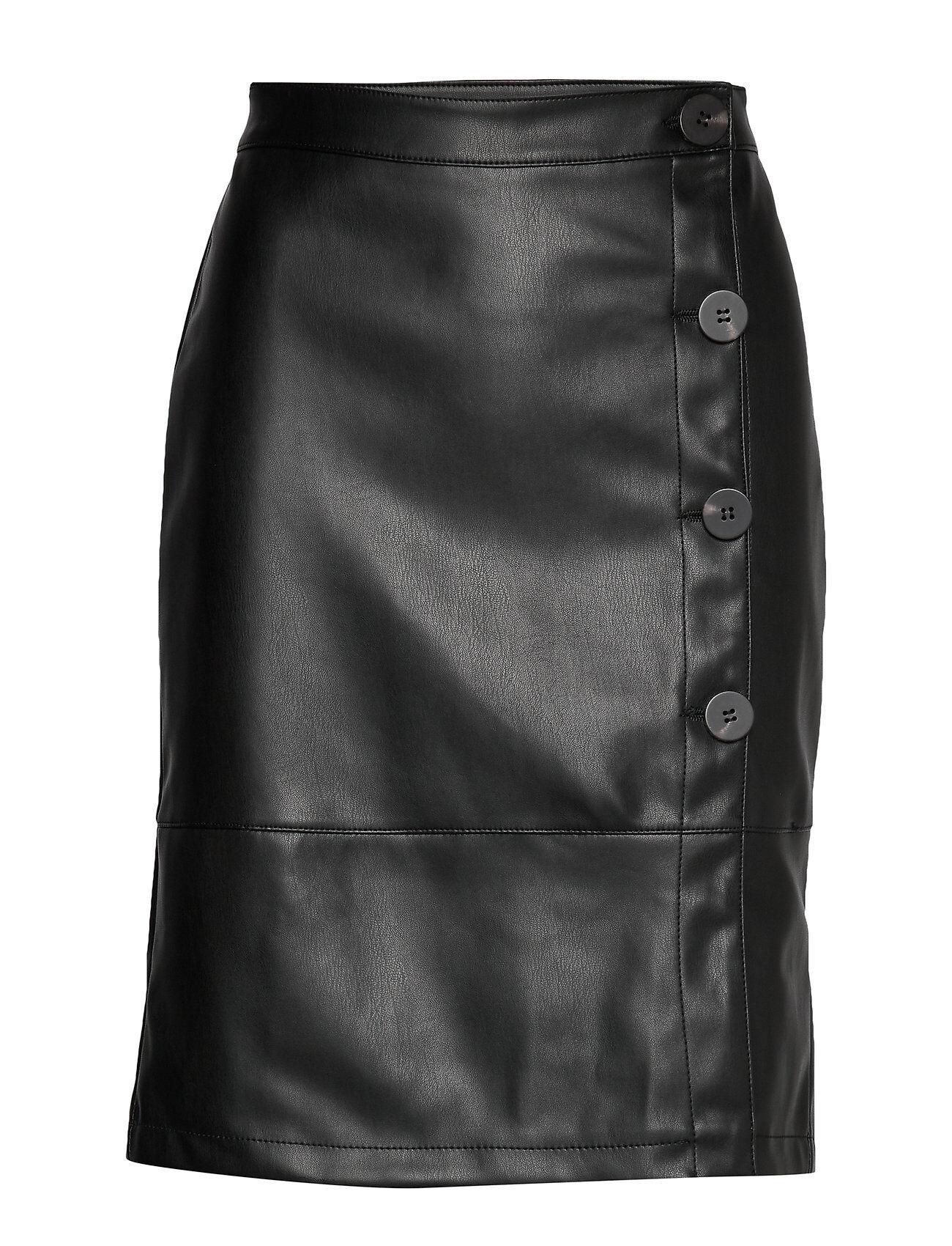 Vila Vipen Button Skirt/L Polvipituinen Hame Musta Vila