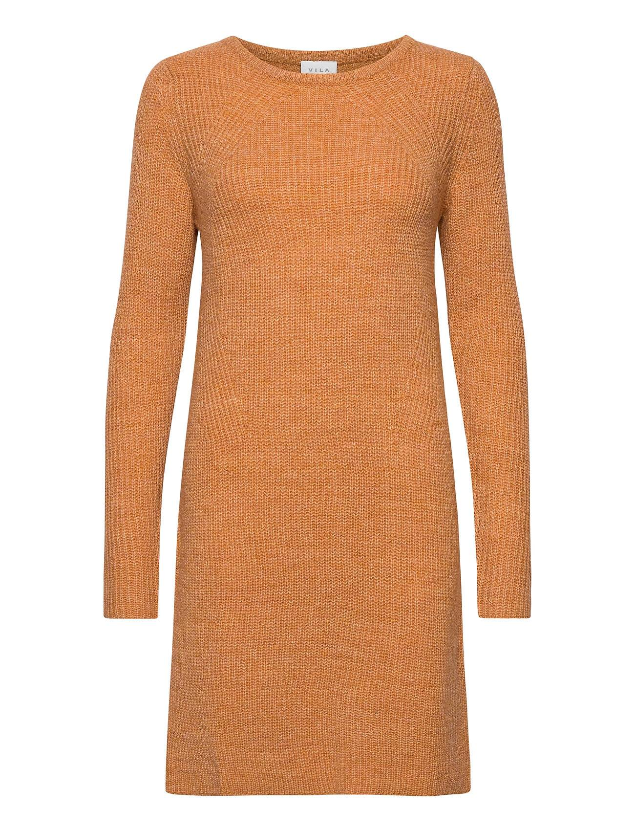 Vila Visuril Knit O-Neck L/S Dress/Su Tb Lyhyt Mekko Oranssi Vila