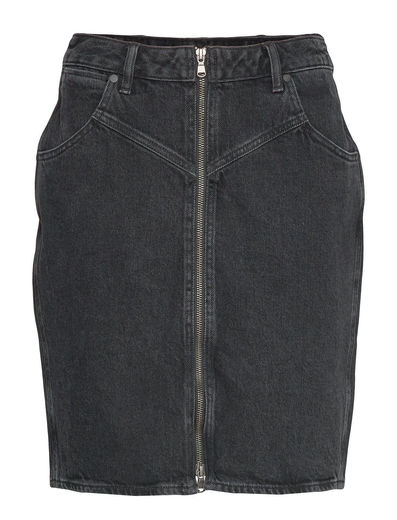 Wrangler High Zip Skirt Black St Lyhyt Hame Musta Wrangler