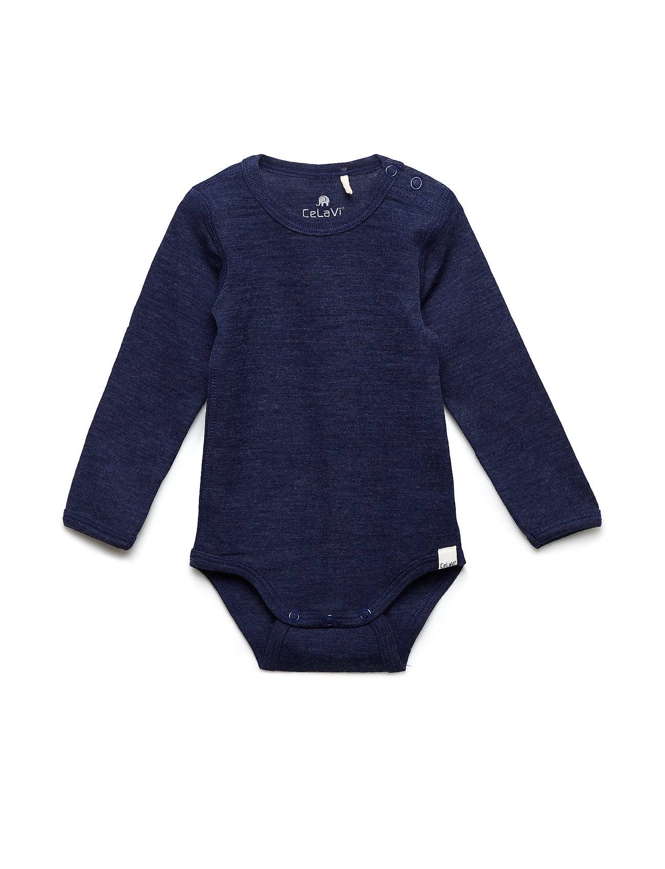 CeLaVi Body Ls - Solid Wonder Wollies Bodies Long-sleeved Sininen CeLaVi