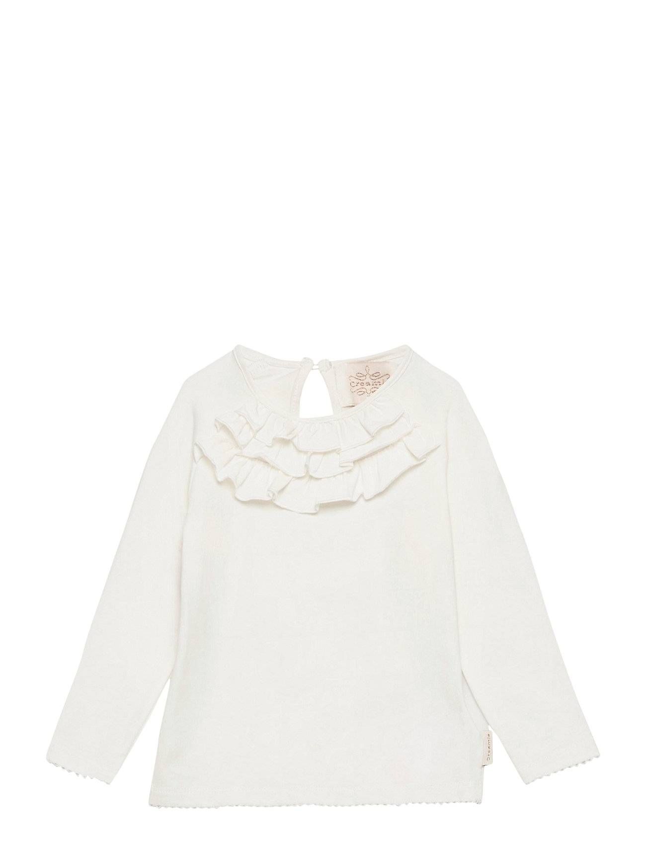 Creamie T-Shirt Ruffle Ls T-shirts Long-sleeved T-shirts Valkoinen Creamie