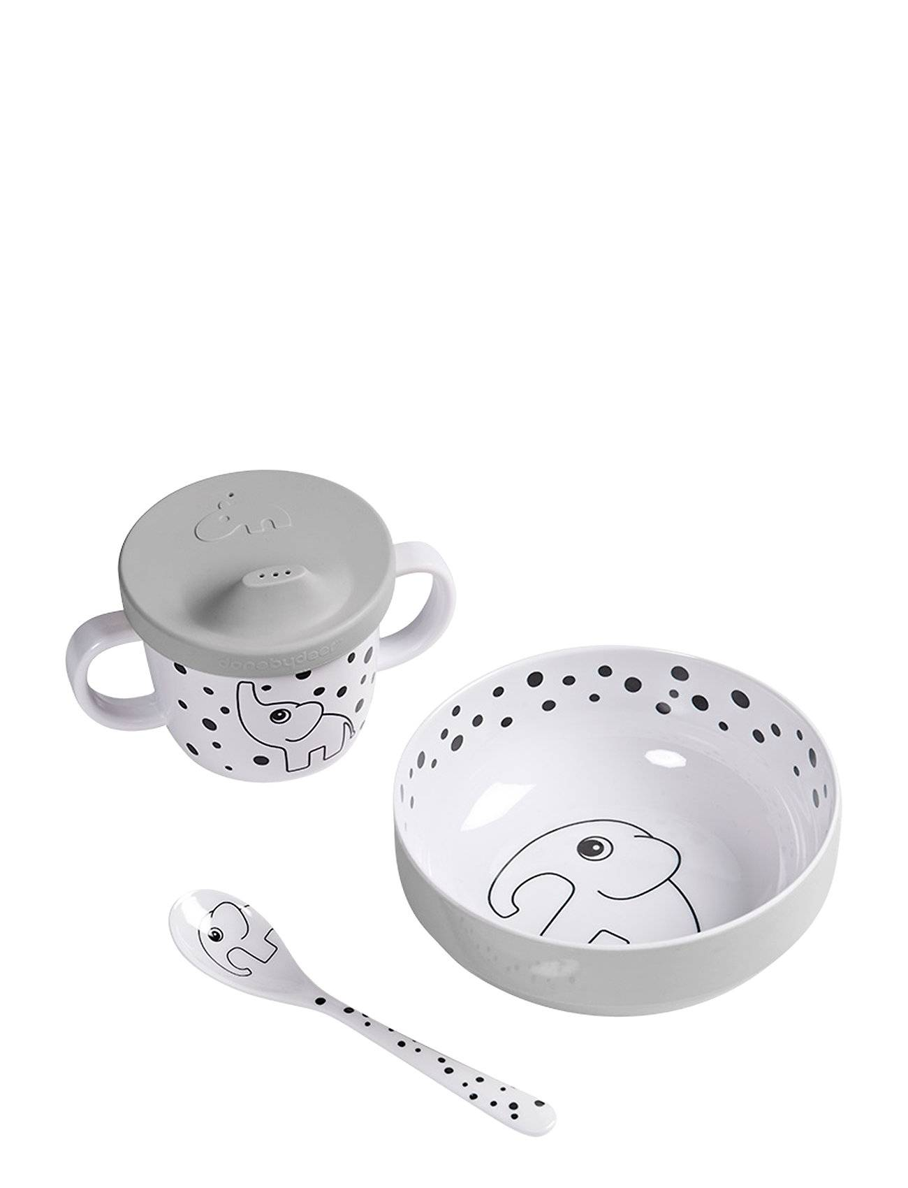 Done by Deer First Meal Set Happy Dots Home Meal Time Dinner Sets Harmaa D By Deer
