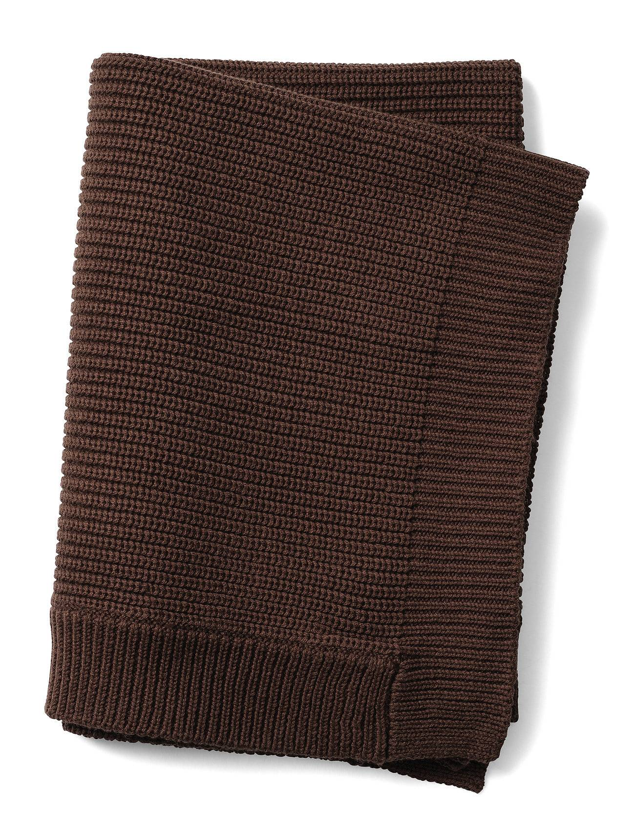 Elodie Details Wool Knitted Blanket- Chocolate Home Sleep Time Blankets & Quilts Ruskea Elodie Details