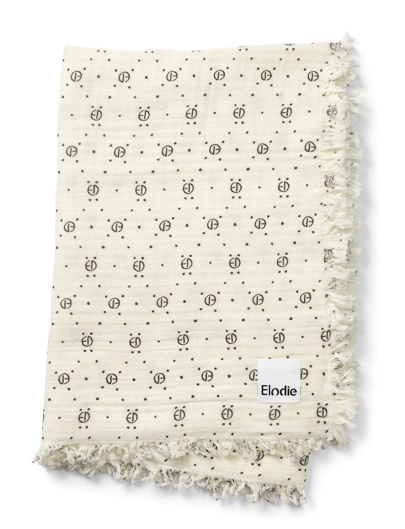 Elodie Details Soft Cotton Blanket - Monogram Home Sleep Time Blankets & Quilts Valkoinen Elodie Details