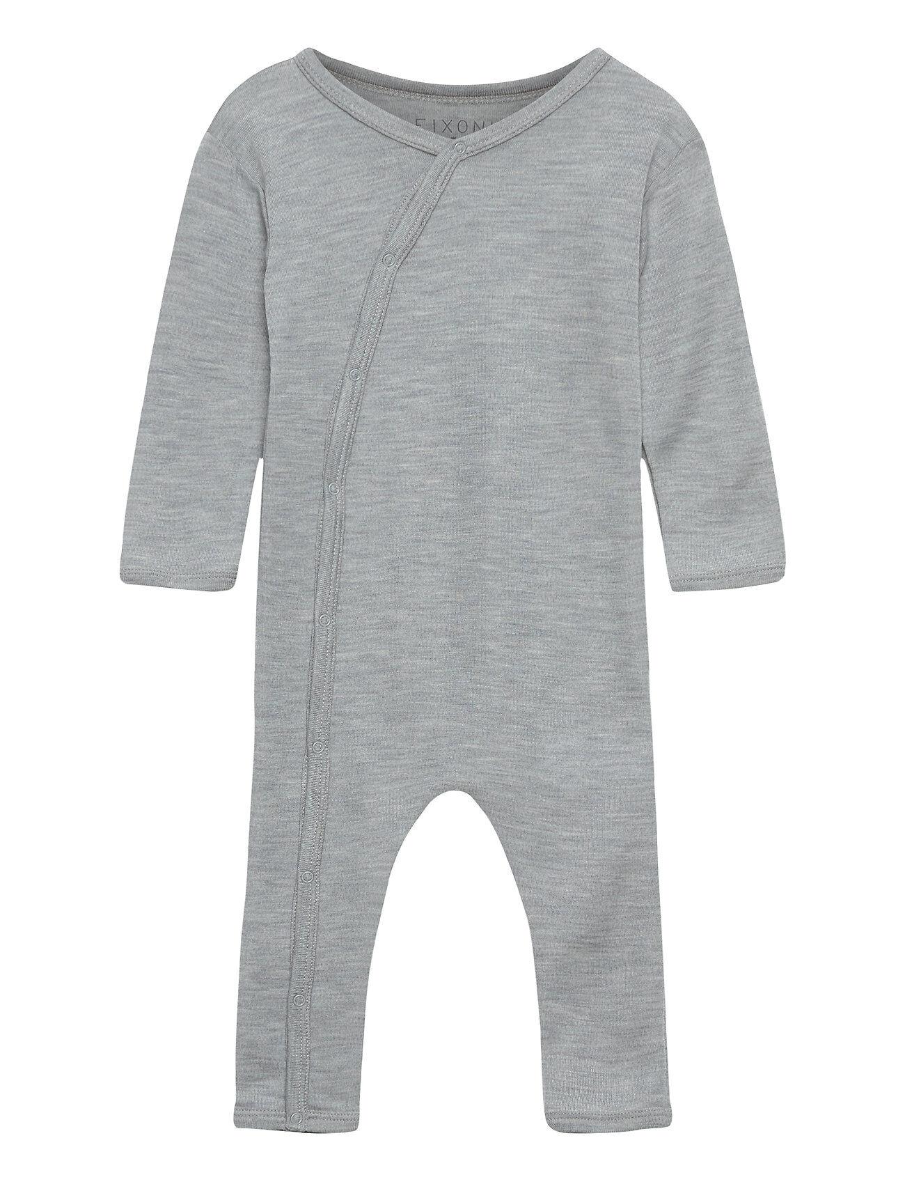 Fixoni Joy Ls Suit - Oekotex Pitkähihainen Body Harmaa Fixoni