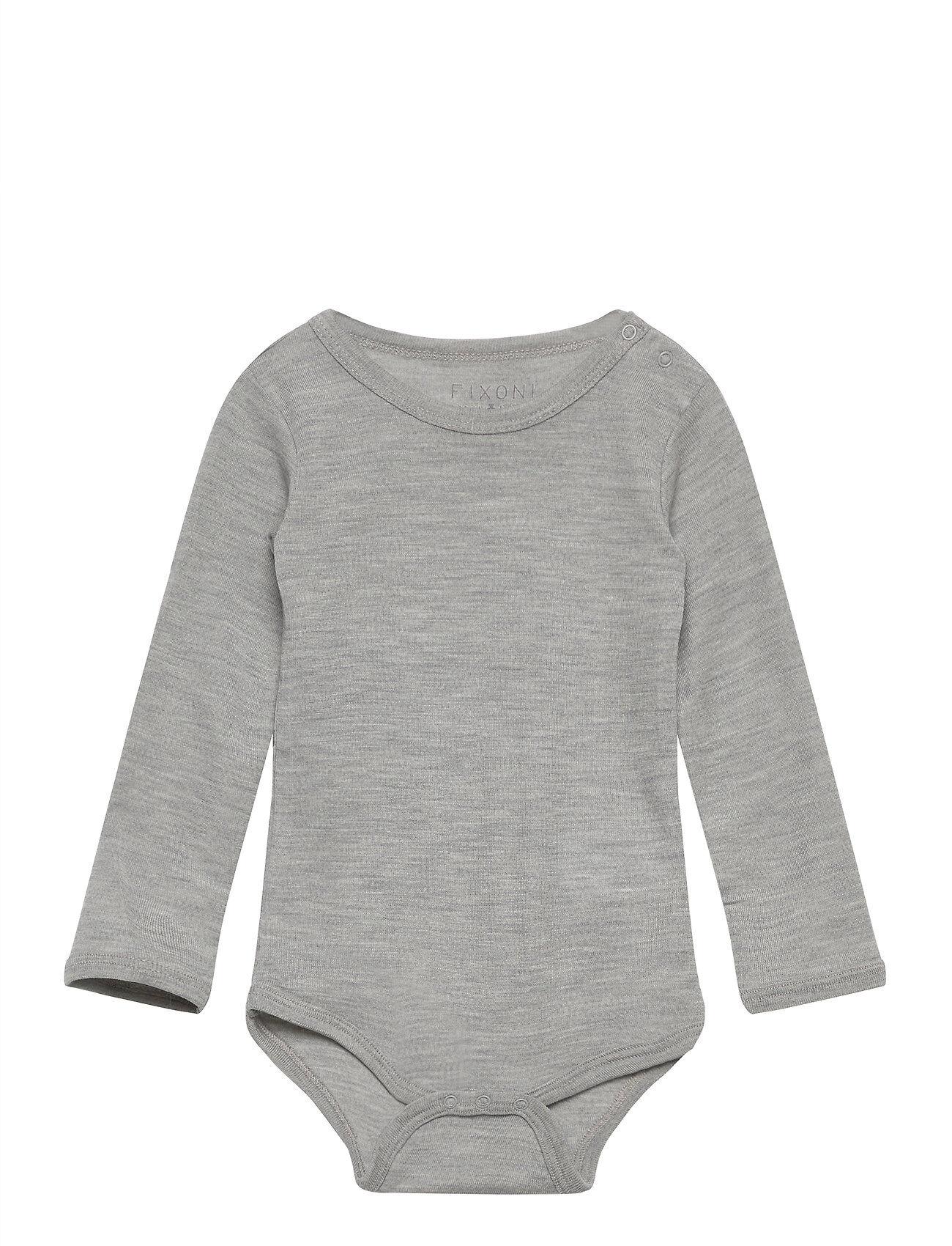 Fixoni Joy Ls Body - Oekotex Bodies Long-sleeved Harmaa Fixoni