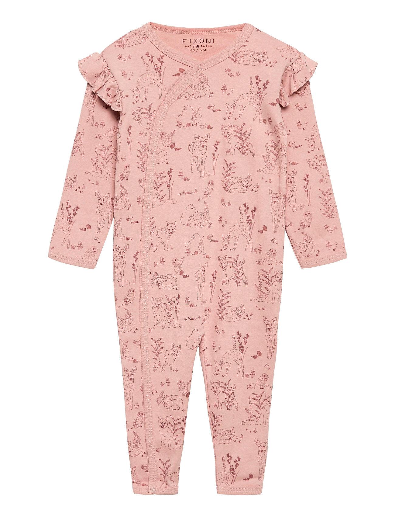 Fixoni Night Suit -Oekotex Pitkähihainen Body Vaaleanpunainen Fixoni