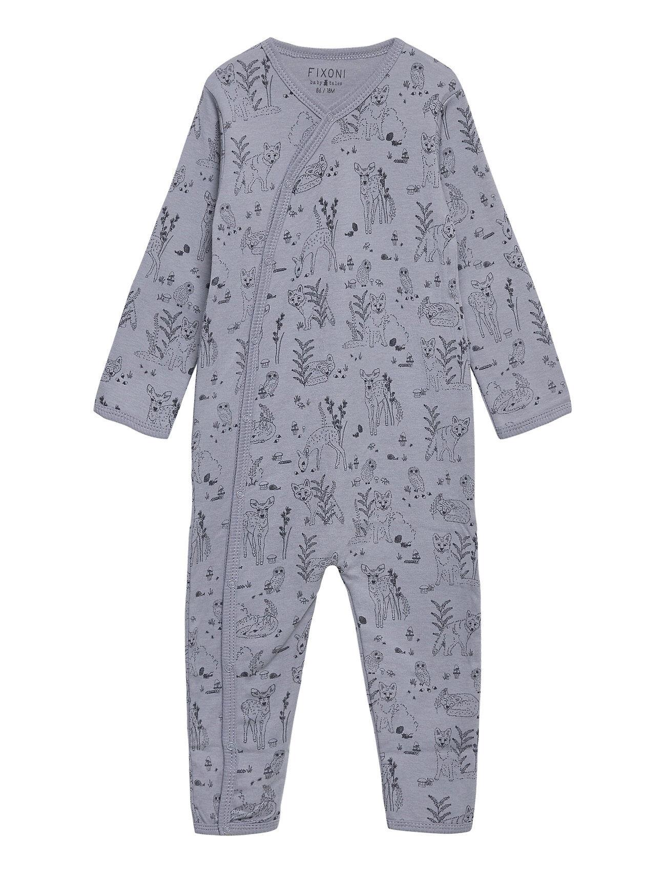 Fixoni Night Suit -Oekotex Pitkähihainen Body Sininen Fixoni