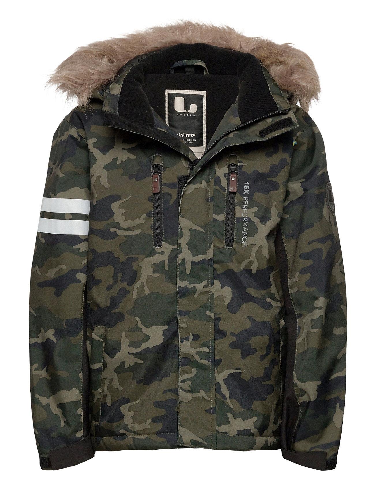 Lindberg Sweden Camo Jacket Outerwear Snow/ski Clothing Snow/ski Jacket Vihreä Lindberg Sweden