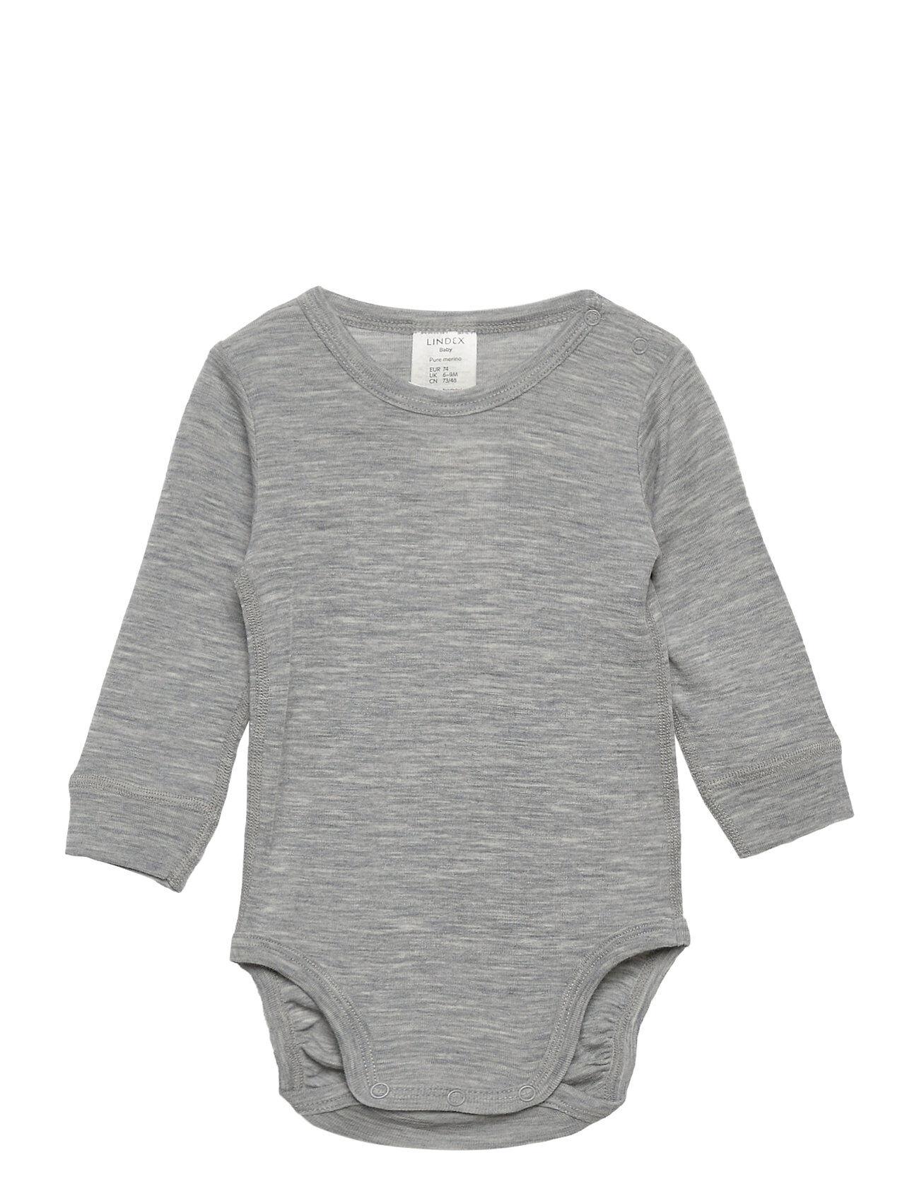 Lindex Body Baby Merino Uni Solid Bodies Long-sleeved Harmaa Lindex