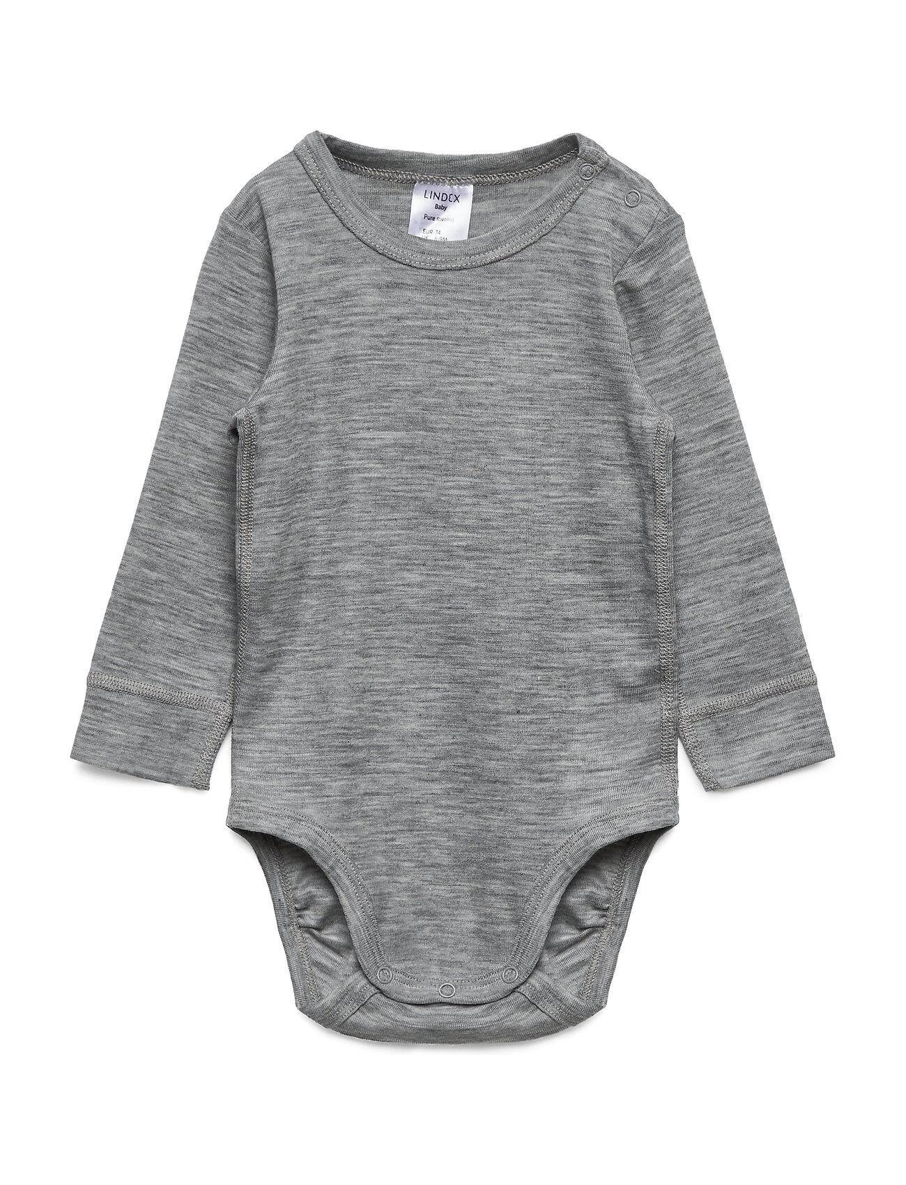 Lindex Body Baby Merino Uni Solid Outerwear Base Layers Harmaa Lindex