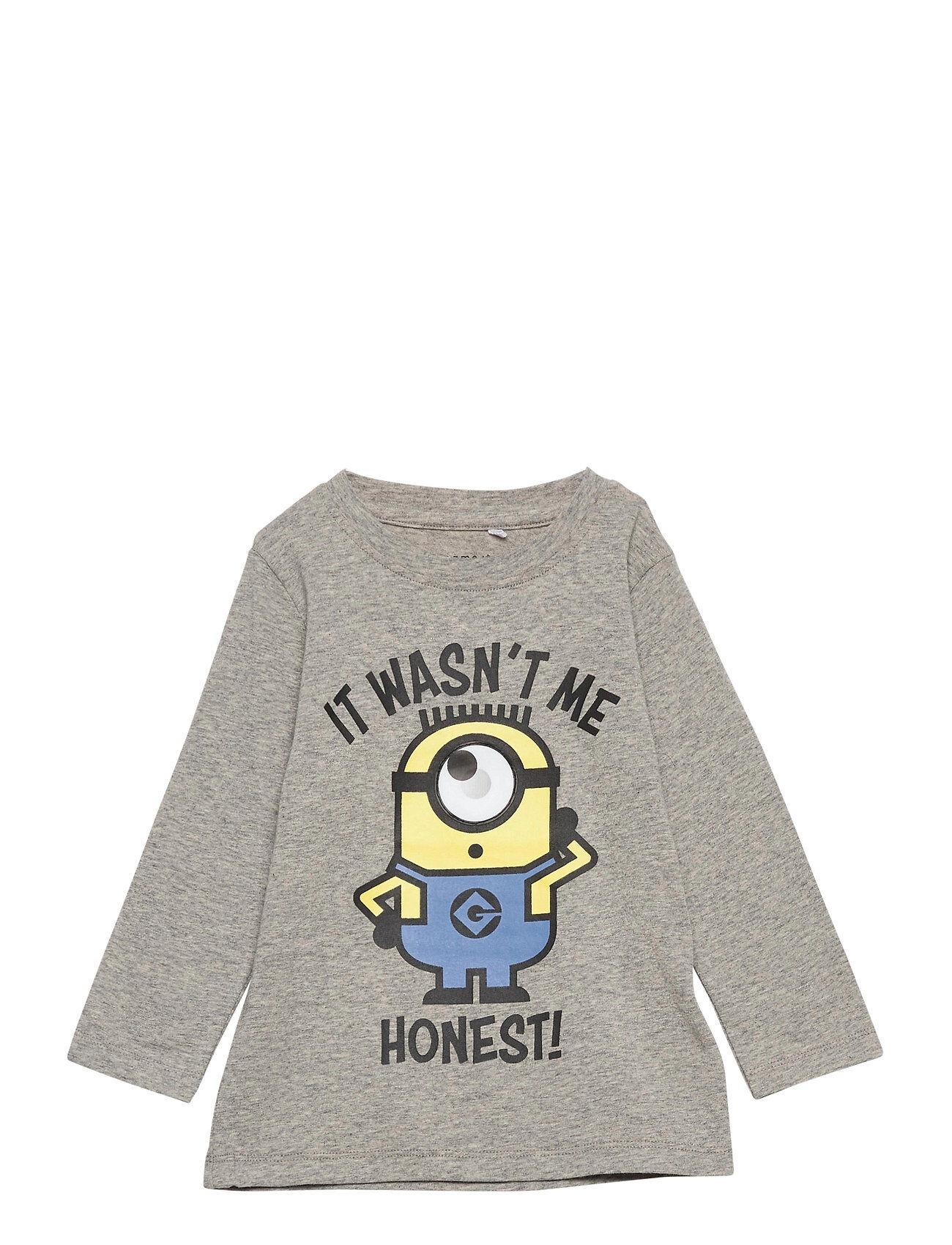 name it Nmmminions Ido Ls Top Box Lic T-shirts Long-sleeved T-shirts Harmaa Name It