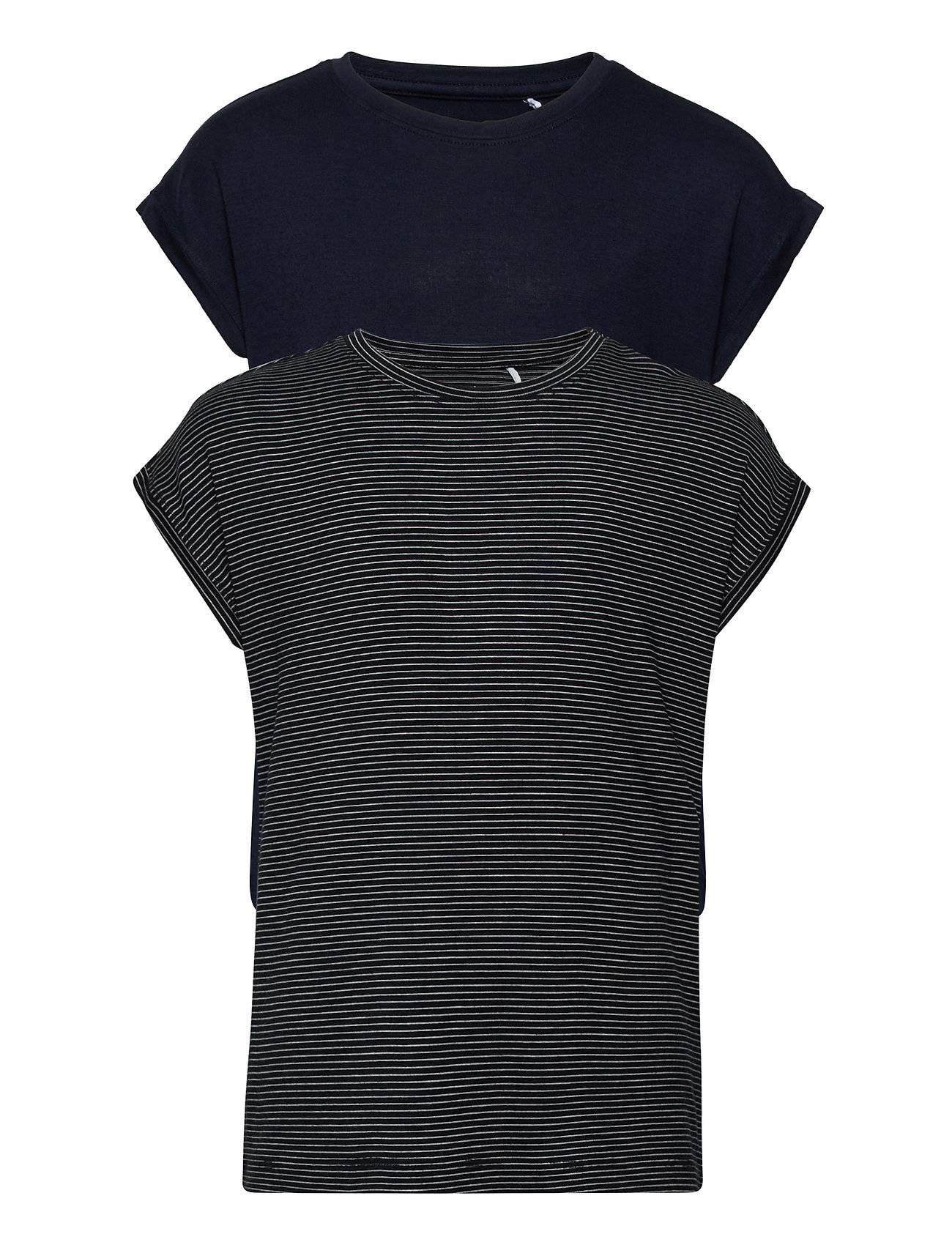 name it Nkfshiallia Ss Top 2pk Noos T-shirts Short-sleeved Sininen Name It