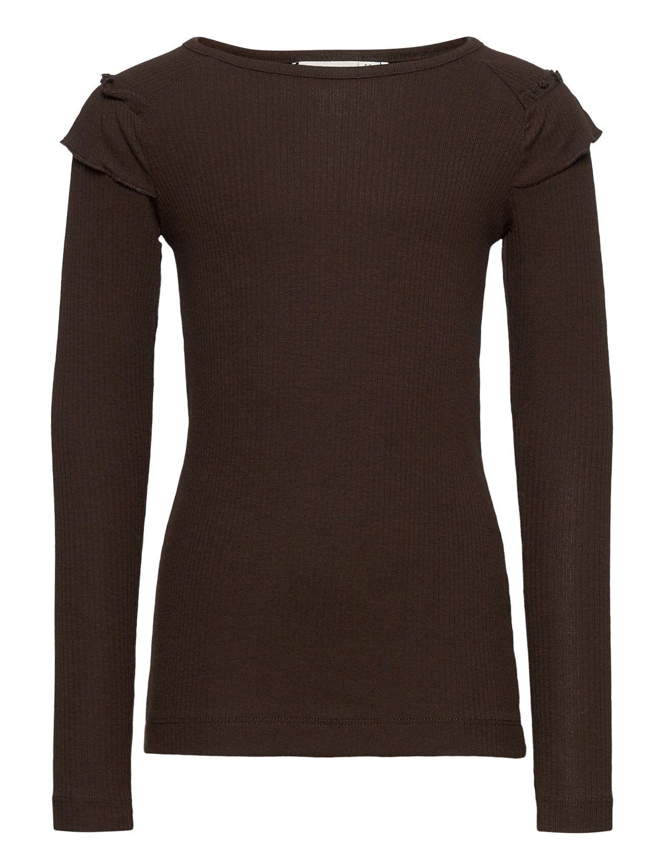 name it Nkfkabex Ls Slim Top T-shirts Long-sleeved T-shirts Ruskea Name It