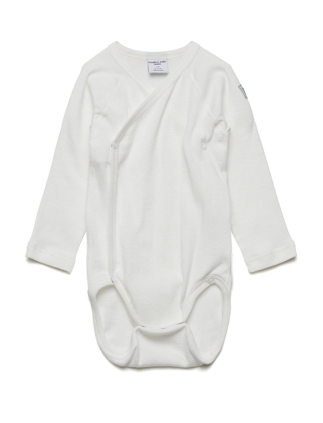 Polarn O. Pyret Body Wrapover Solid Newborn Bodies Long-sleeved Valkoinen