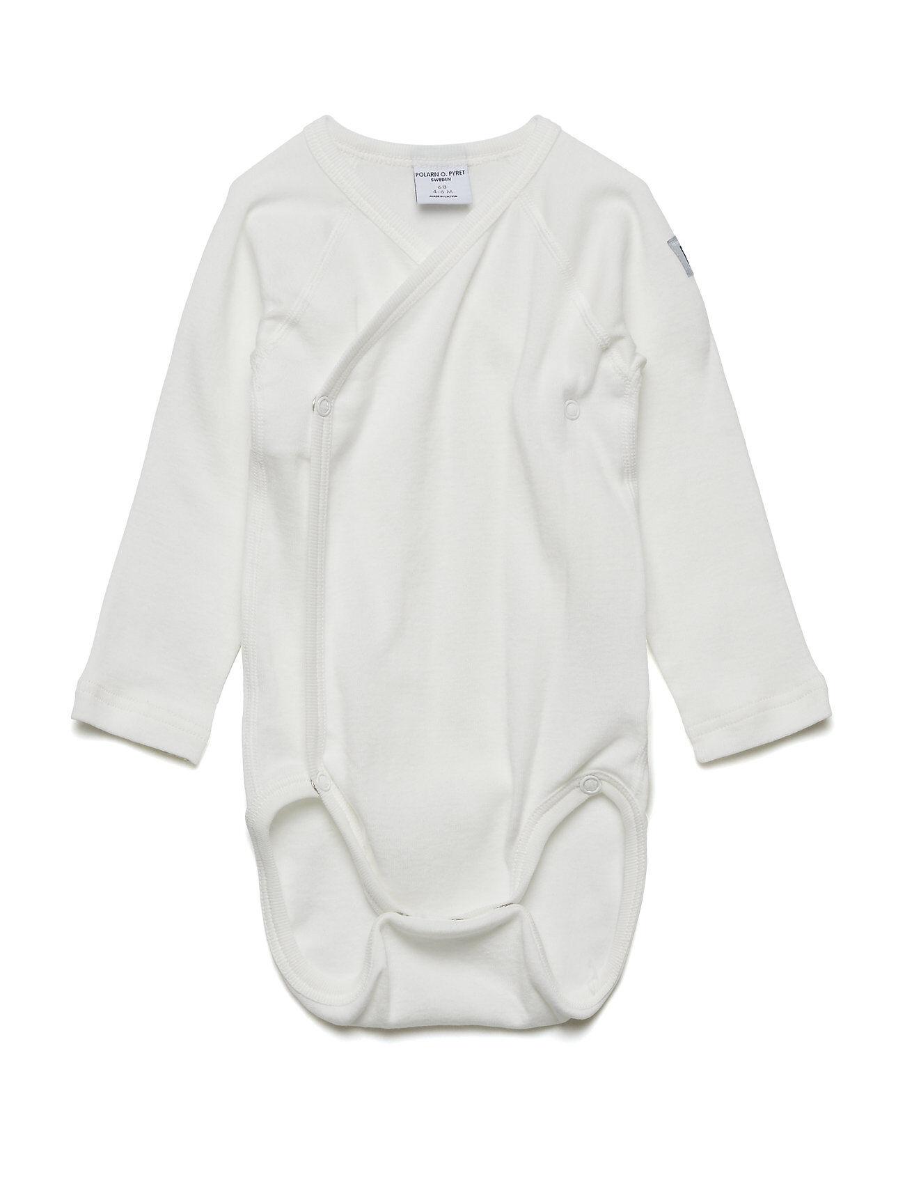 Polarn O. Pyret Body Wrapover Solid Newborn Bodies Long-sleeved Valkoinen Polarn O. Pyret