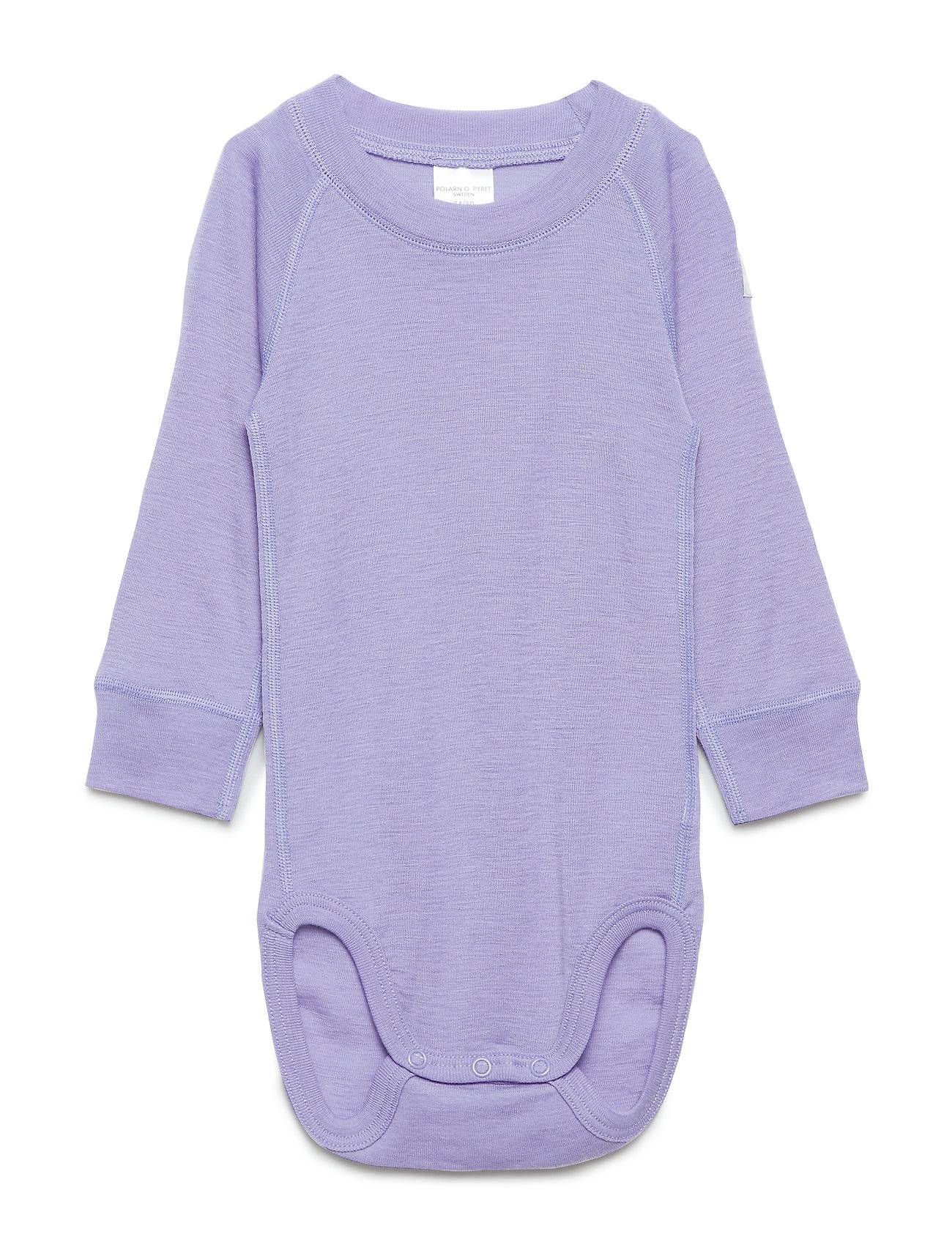 Polarn O. Pyret Body Wool Solid Baby Bodies Long-sleeved Liila