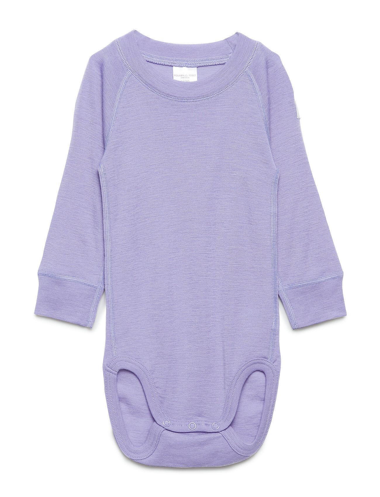 Polarn O. Pyret Body Wool Solid Baby Bodies Long-sleeved Liila Polarn O. Pyret