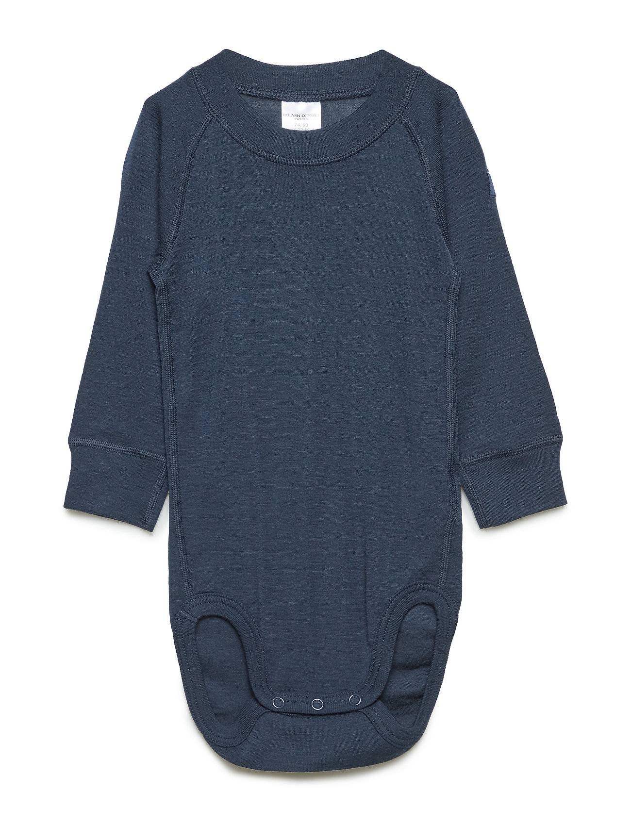 Polarn O. Pyret Body Wool Solid Baby Bodies Long-sleeved Sininen