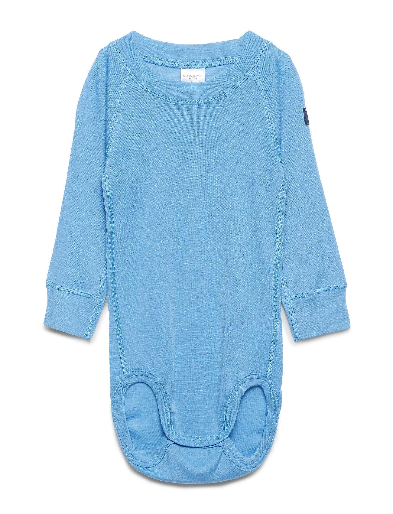 Polarn O. Pyret Body Wool Solid Baby Bodies Long-sleeved Sininen Polarn O. Pyret
