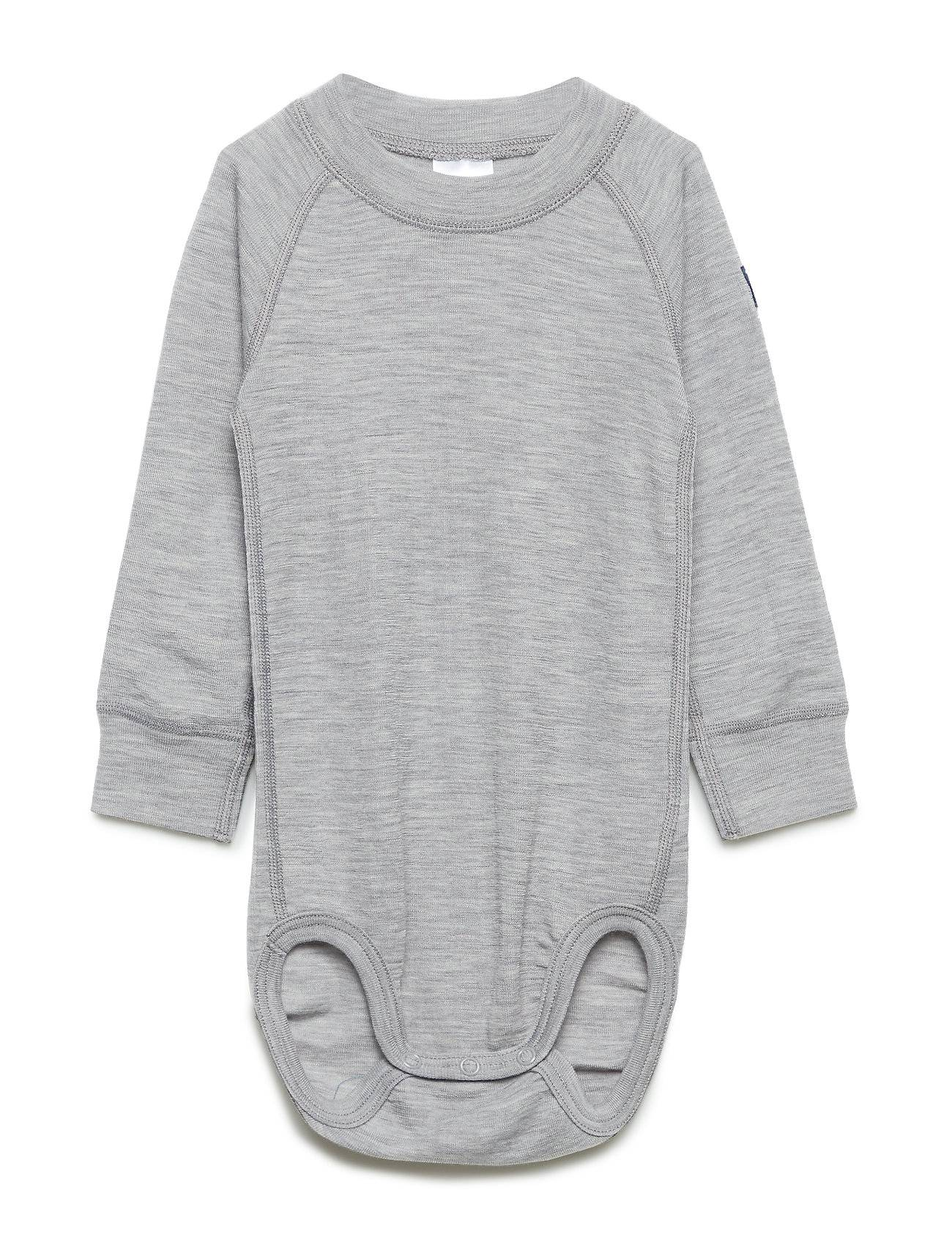 Polarn O. Pyret Body Wool Solid Baby Bodies Long-sleeved Harmaa