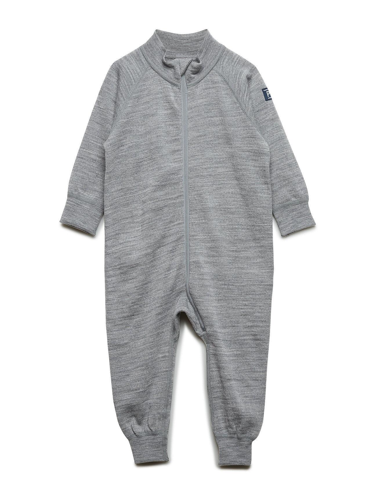 Polarn O. Pyret Overall Solid Wool Baby Pitkähihainen Body Harmaa