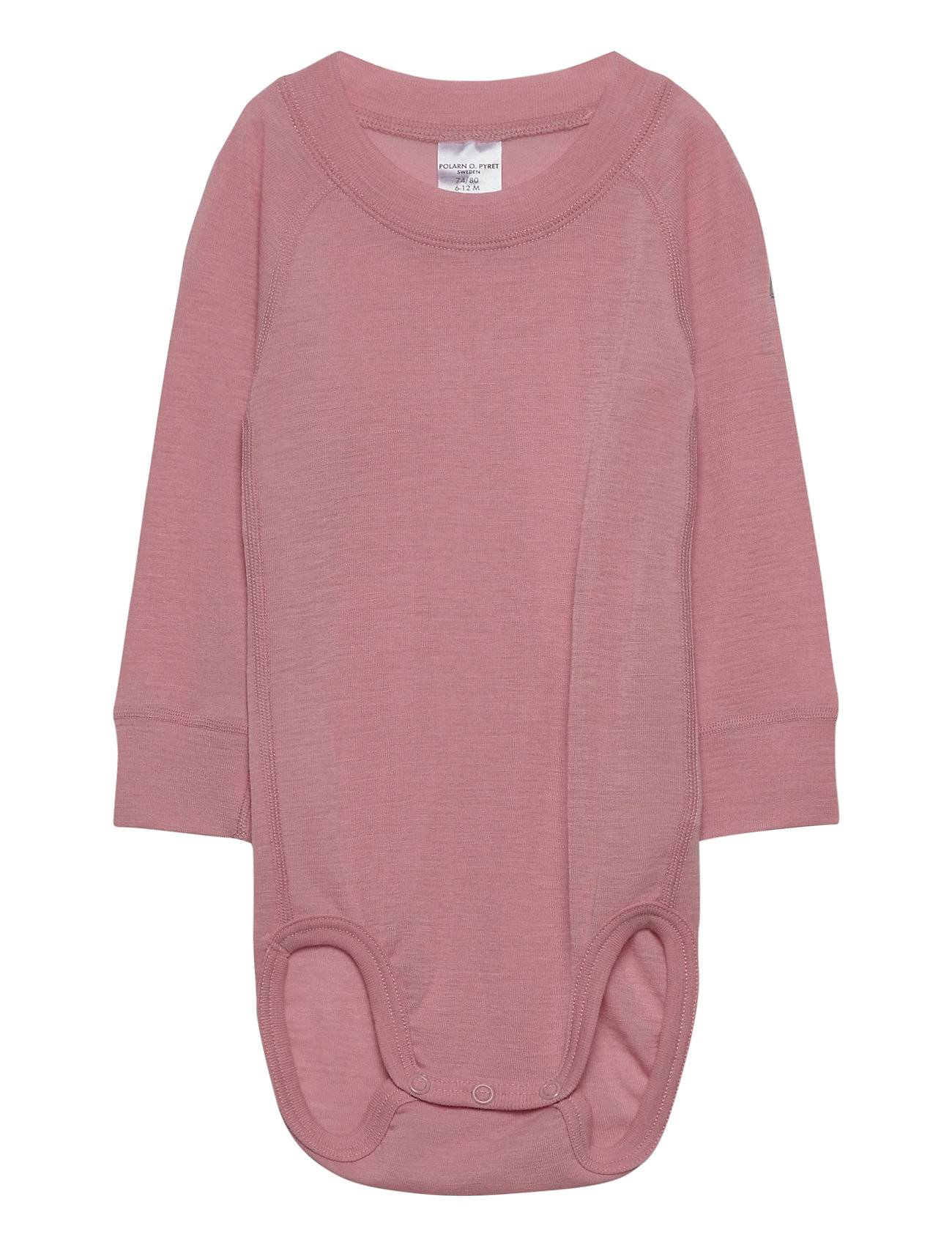 Polarn O. Pyret Body Wool Solid Baby Bodies Long-sleeved Vaaleanpunainen Polarn O. Pyret