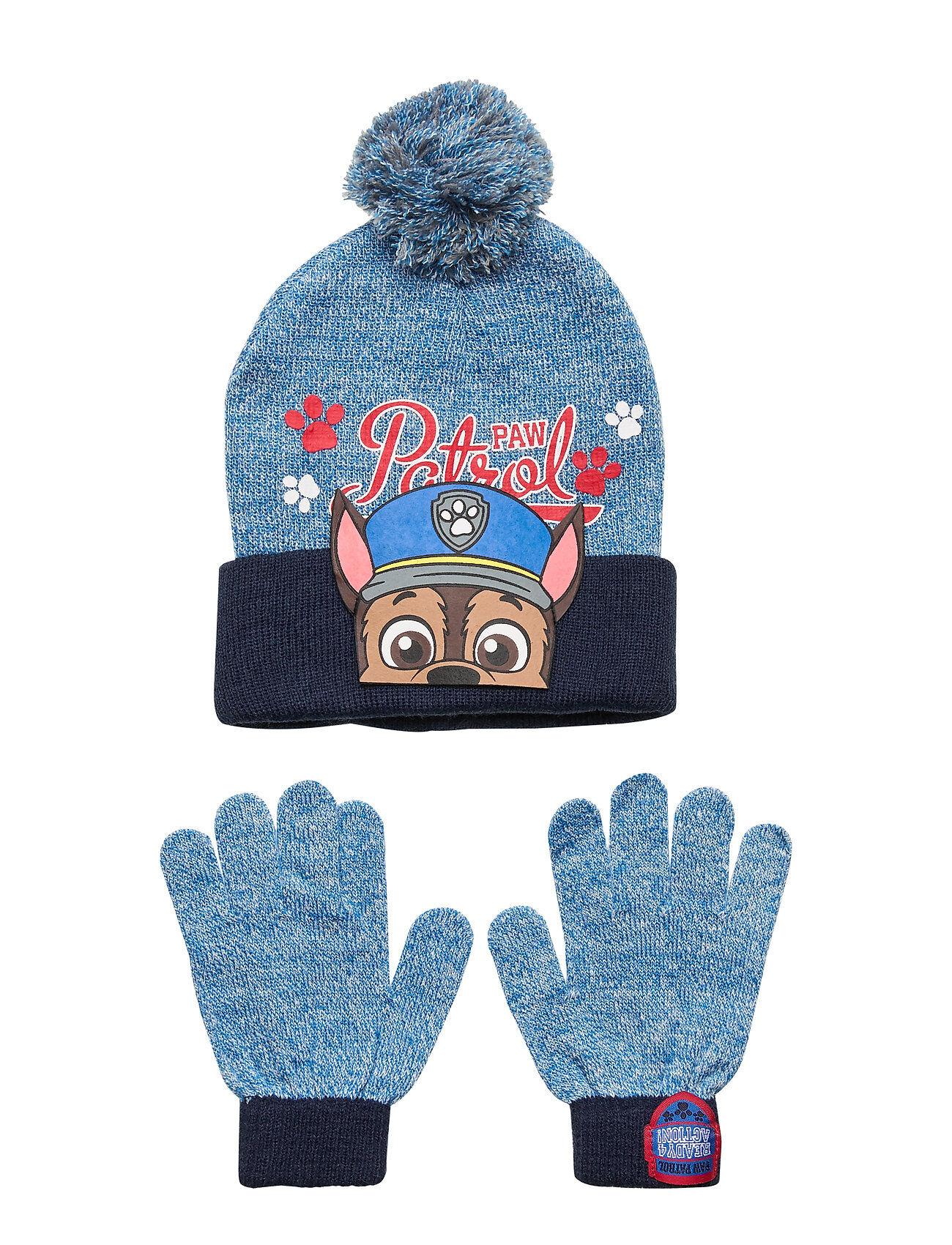 Paw Patrol Set 2 Pcs Hats & Gloves Accessories Headwear Hats Sininen Paw Patrol