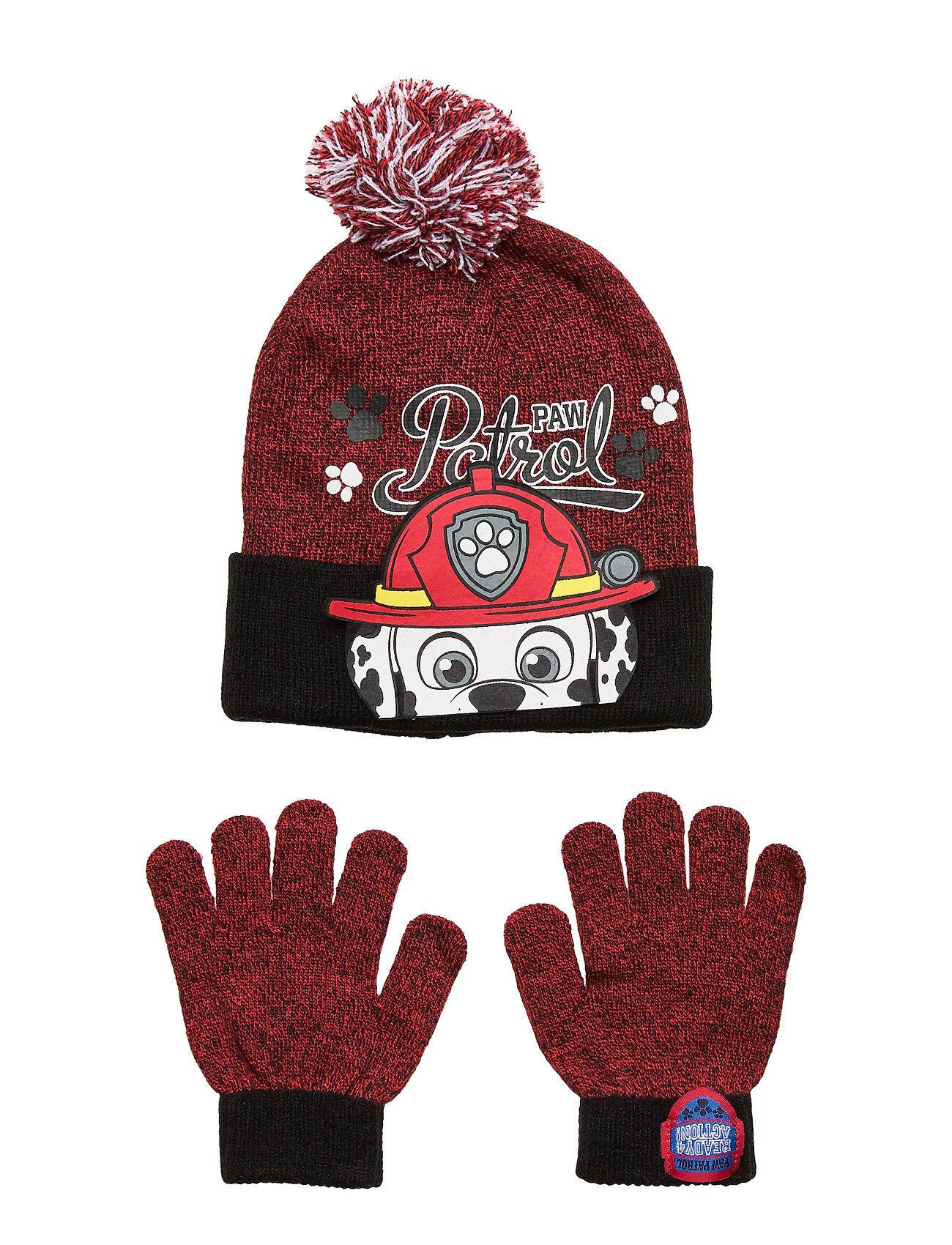 Paw Patrol Set 2 Pcs Hats & Gloves Accessories Headwear Hats Punainen Paw Patrol