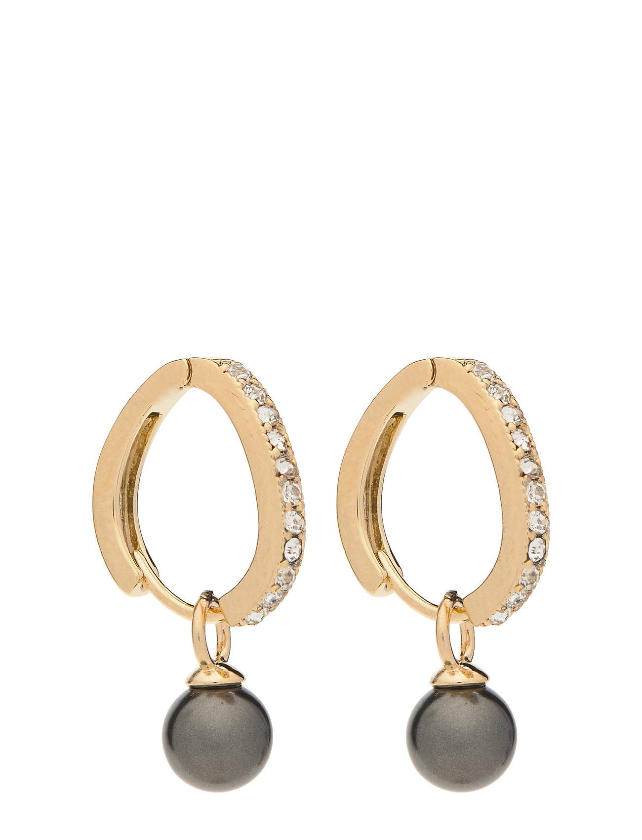 Image of LILY AND ROSE Petite Kennedy Hoops Earrings - Black Pearl Accessories Jewellery Earrings Hoops Kulta LILY AND ROSE