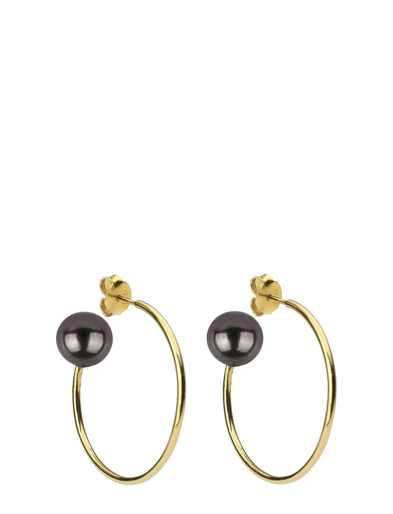 Syster P Pearly Big Hoops Gold Black Accessories Jewellery Earrings Hoops Kulta Syster P