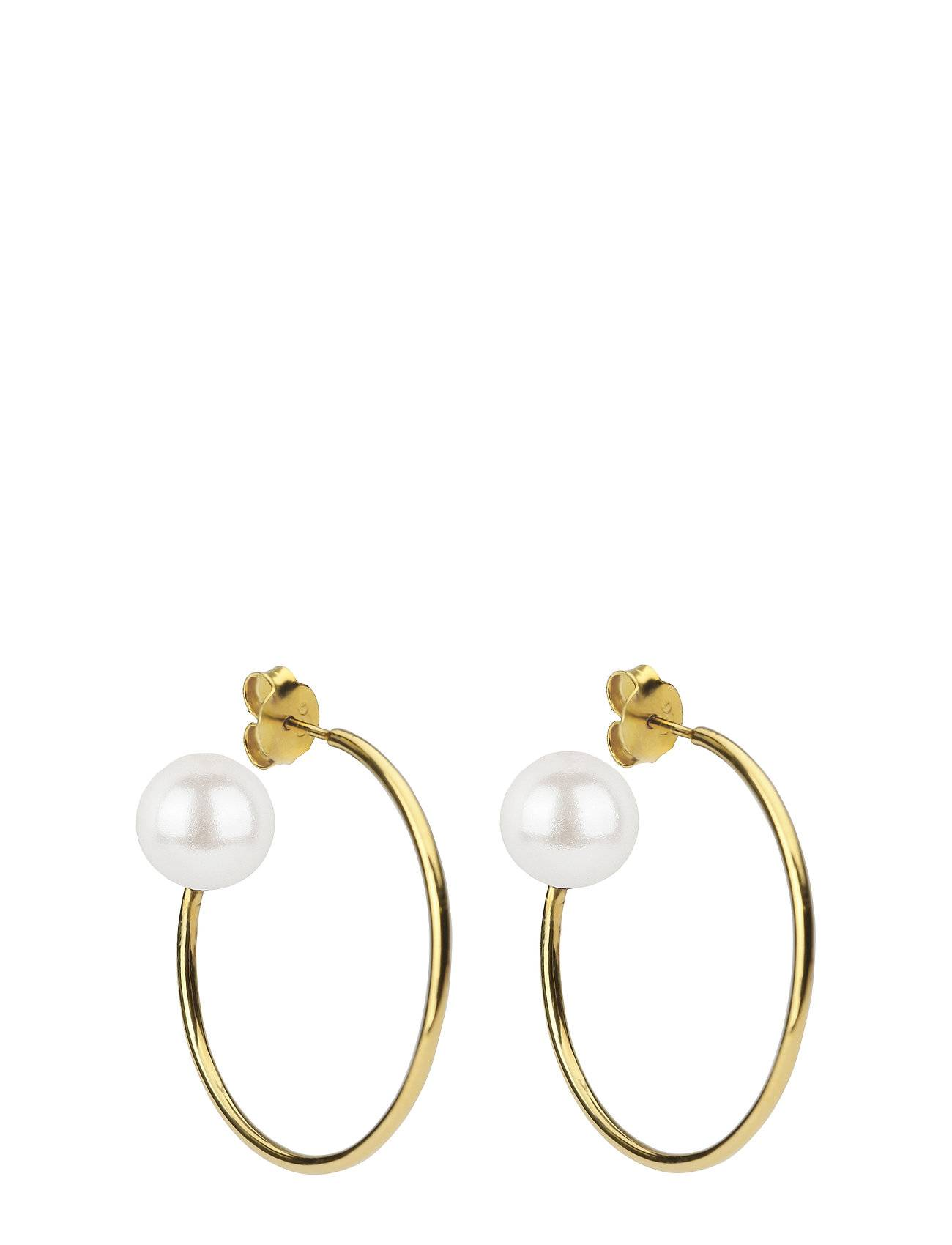 Syster P Pearly Big Hoops Gold White Accessories Jewellery Earrings Hoops Kulta Syster P