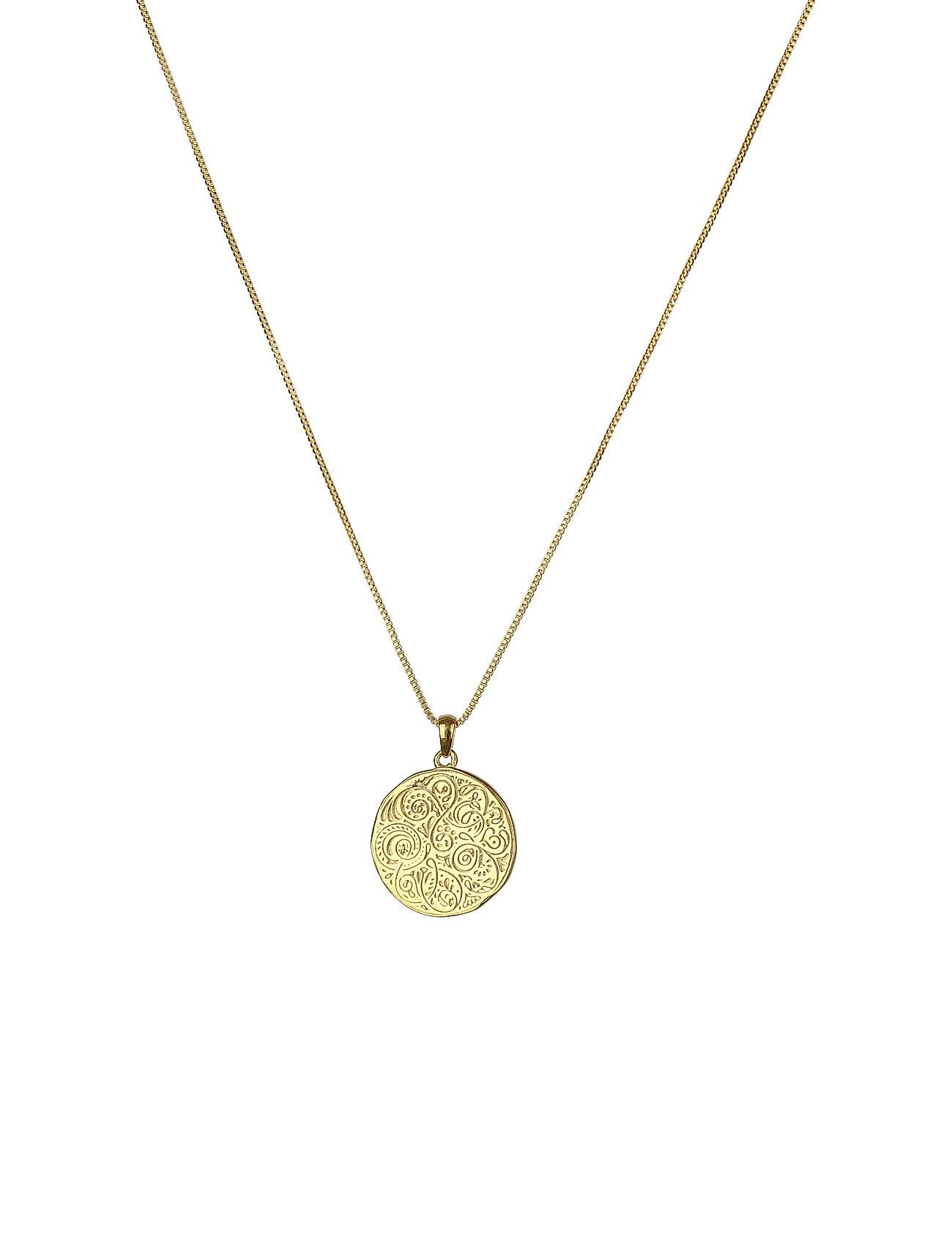 Syster P Kristine Round Pendant Gold Accessories Jewellery Necklaces Dainty Necklaces Kulta Syster P