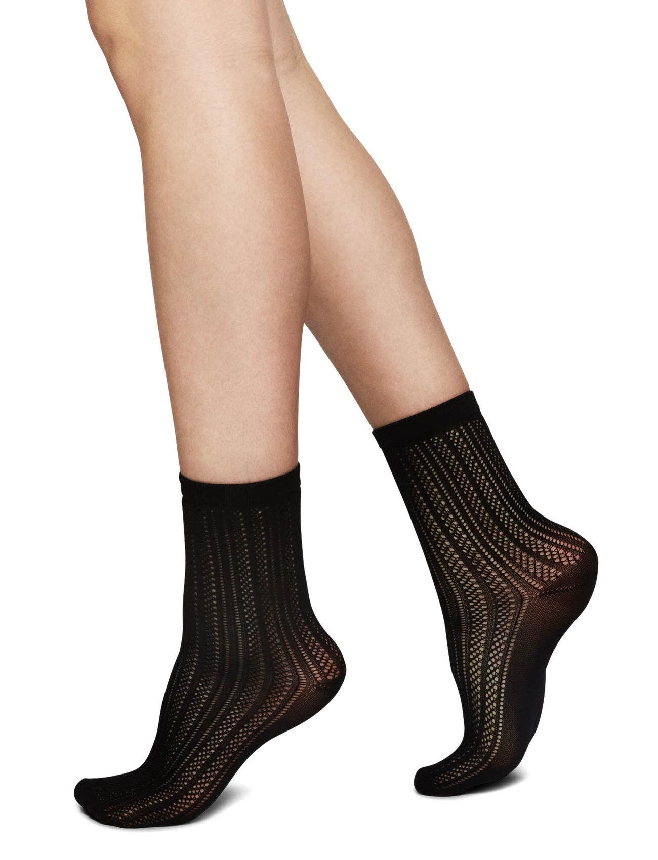 Swedish Stockings Klara Knit Sock Lingerie Hosiery Socks Musta Swedish Stockings