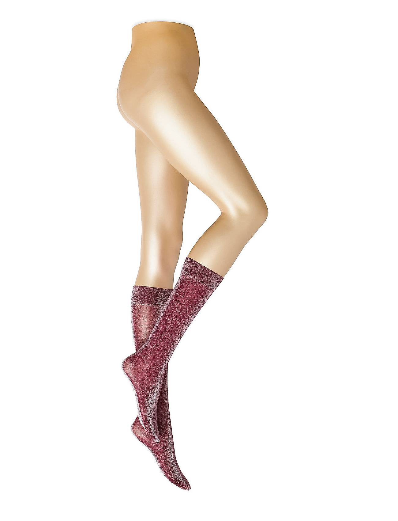 Swedish Stockings Ines Shimmery Sock Wine Lingerie Hosiery Knee High Socks Punainen Swedish Stockings