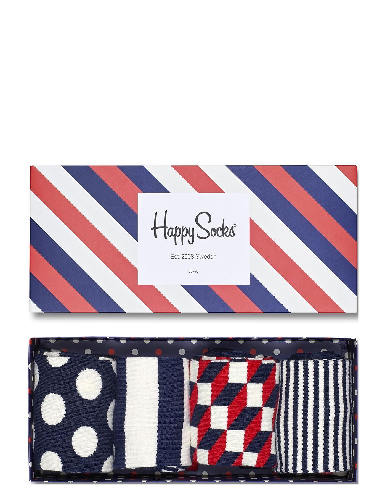 Happy Socks 4-Pack Classic Navy Socks Gift Set Underwear Socks Regular Socks Monivärinen/Kuvioitu Happy Socks