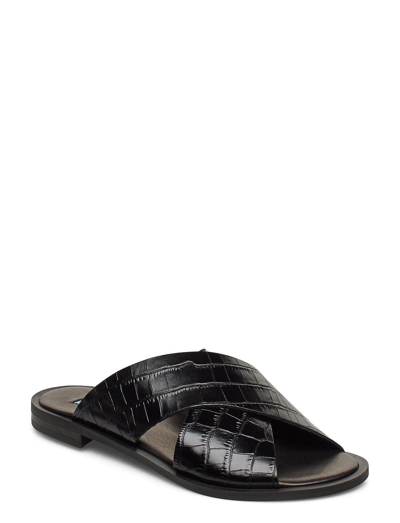 Apair Wide Cross Round Shoes Summer Shoes Flat Sandals Musta Apair