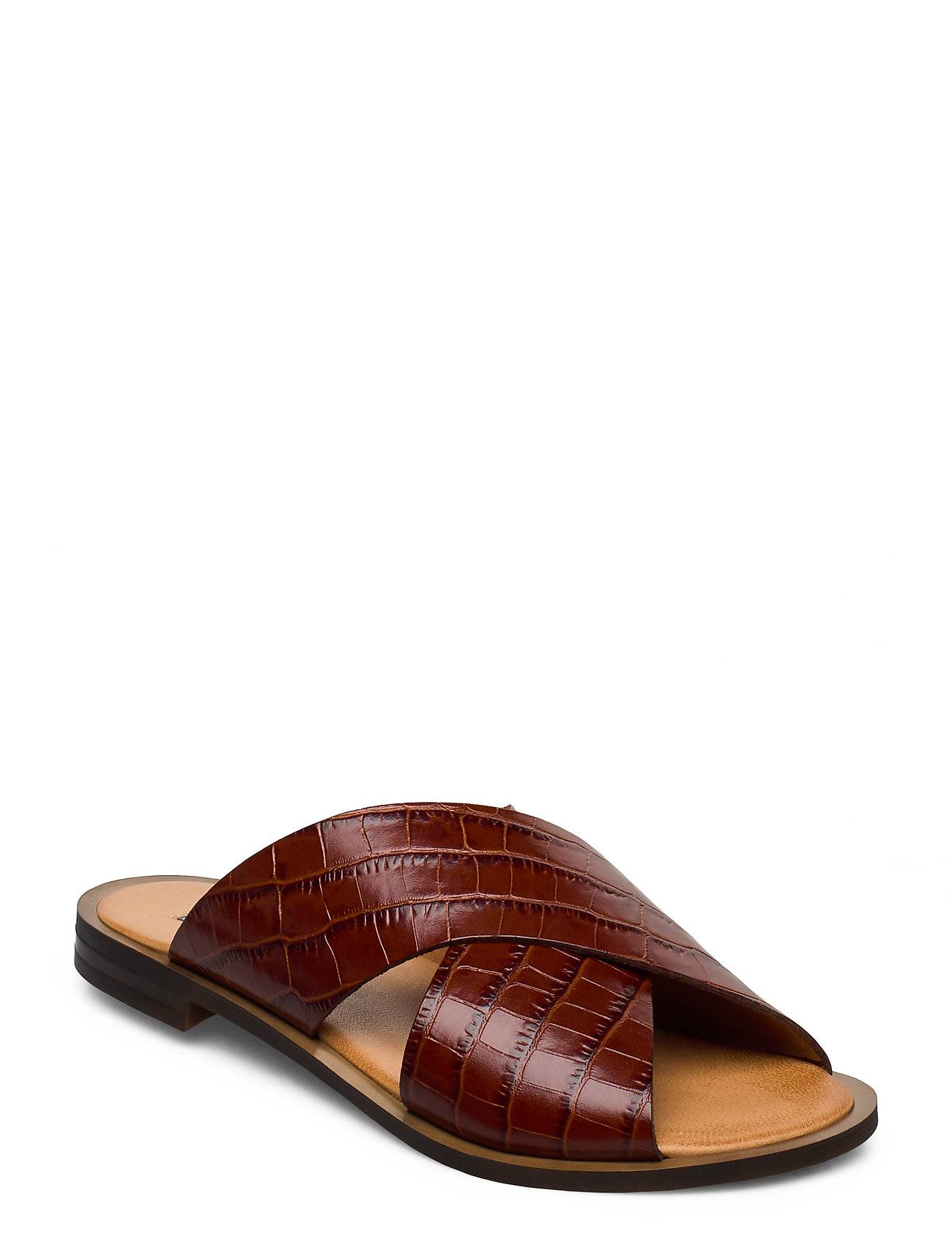 Apair Wide Cross Round Shoes Summer Shoes Flat Sandals Ruskea Apair
