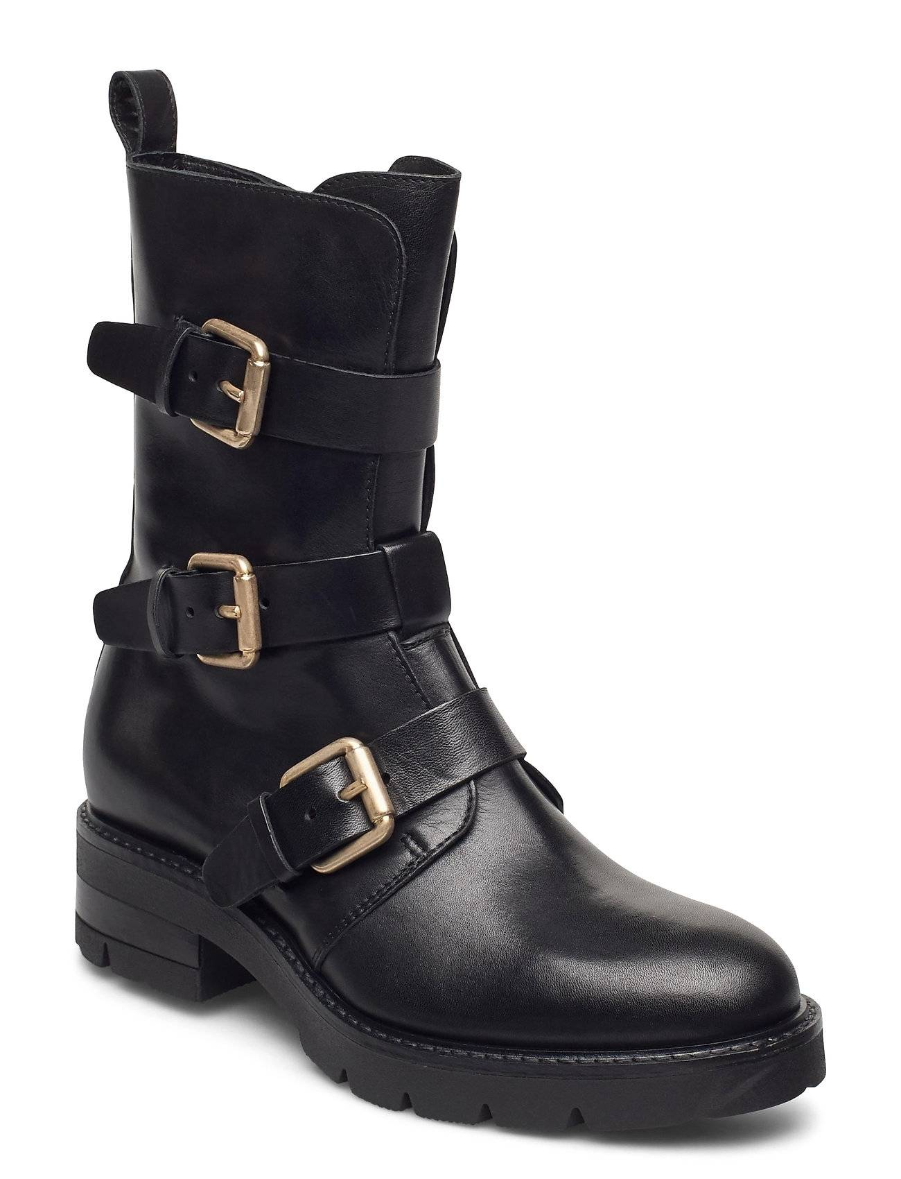 Apair Bikerboot Shoes Boots Ankle Boots Ankle Boots Flat Heel Musta Apair