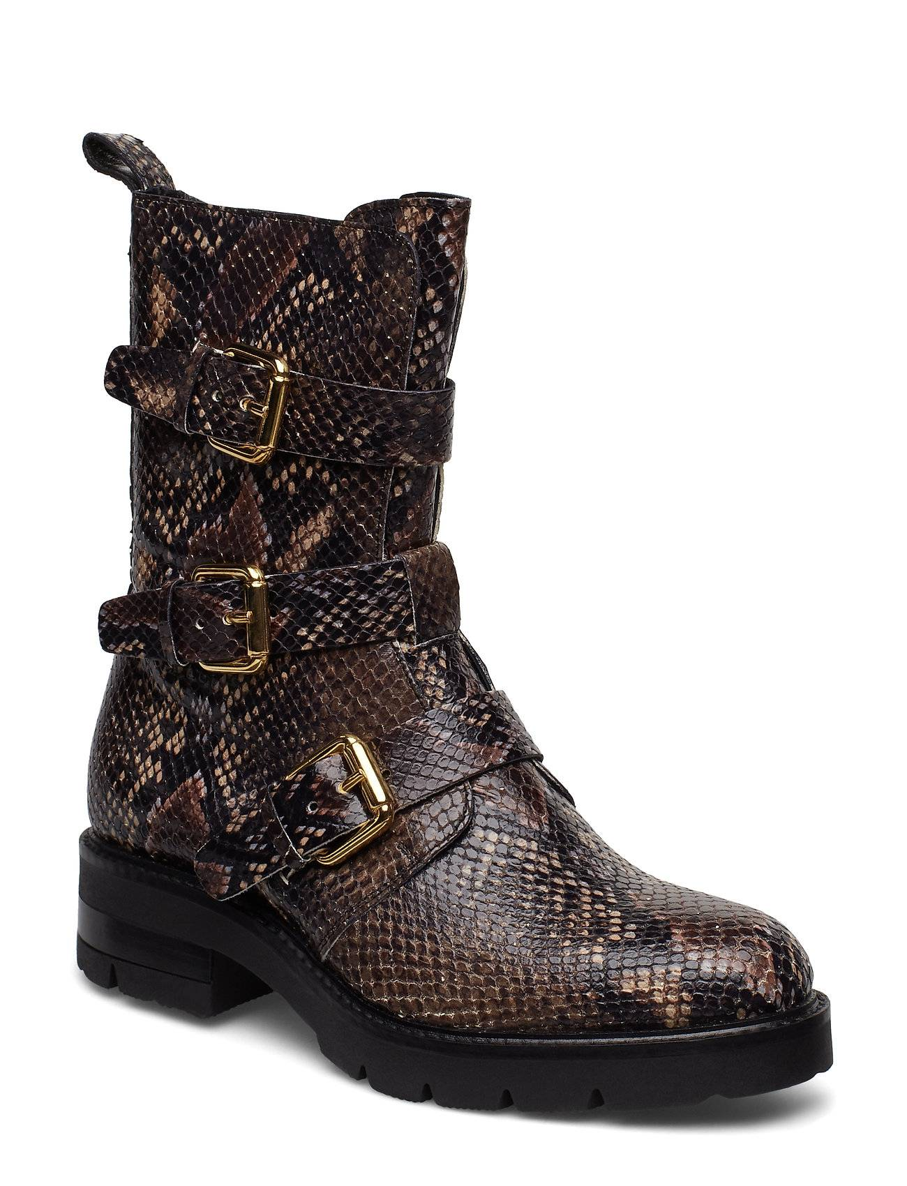 Apair Bikerboot Shoes Boots Ankle Boots Ankle Boots Flat Heel Ruskea Apair