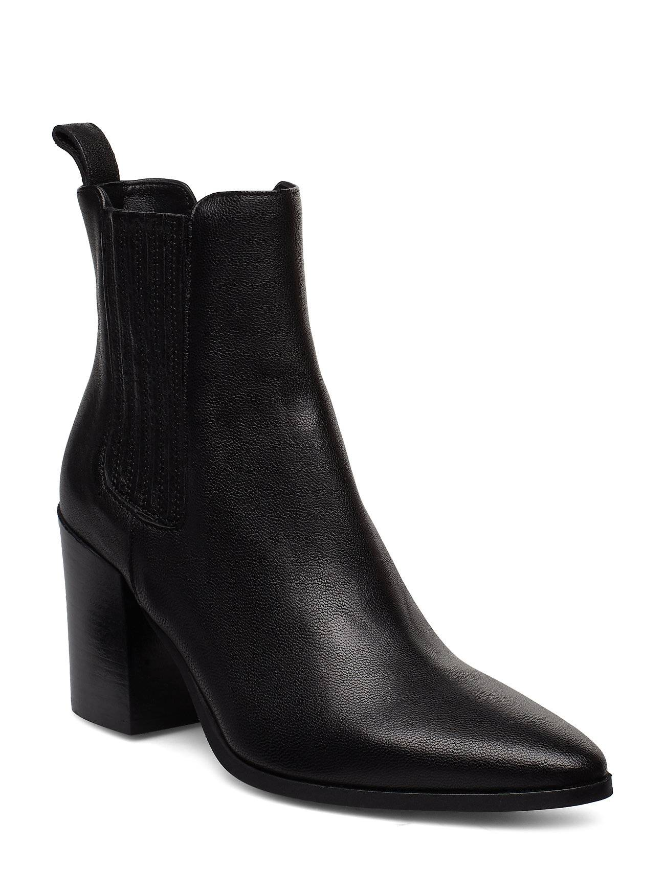 Apair Classic Western Elastic Shoes Boots Ankle Boots Ankle Boots With Heel Musta Apair