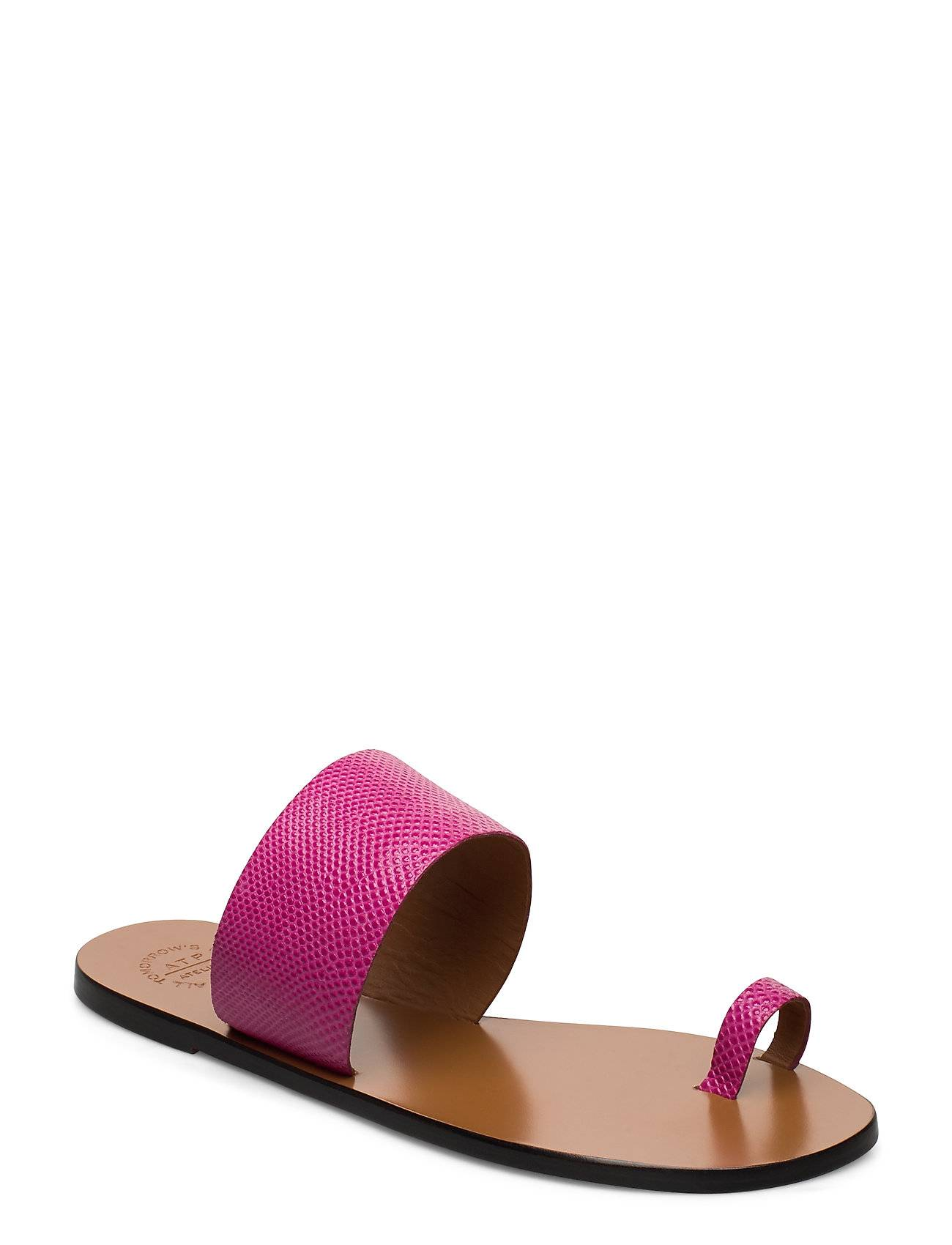 ATP Atelier Astrid Fuxia Printed Watersnake Shoes Summer Shoes Flat Sandals Vaaleanpunainen ATP Atelier