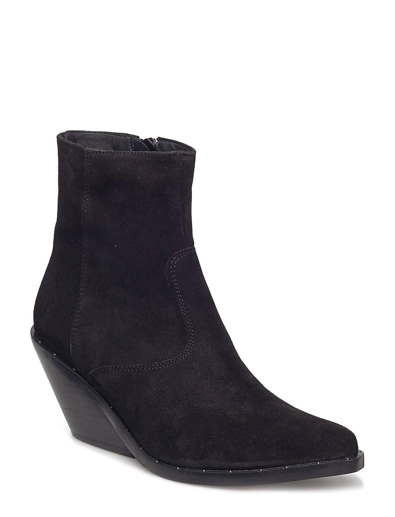 Henry Kole Evie Black Suede Shoes Boots Ankle Boots Ankle Boots With Heel Musta Henry Kole