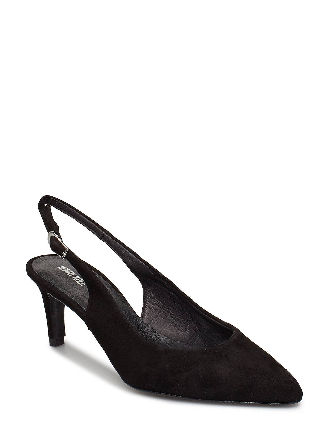 Henry Kole Lisa Suede Black Shoes Heels Pumps Sling Backs Musta Henry Kole